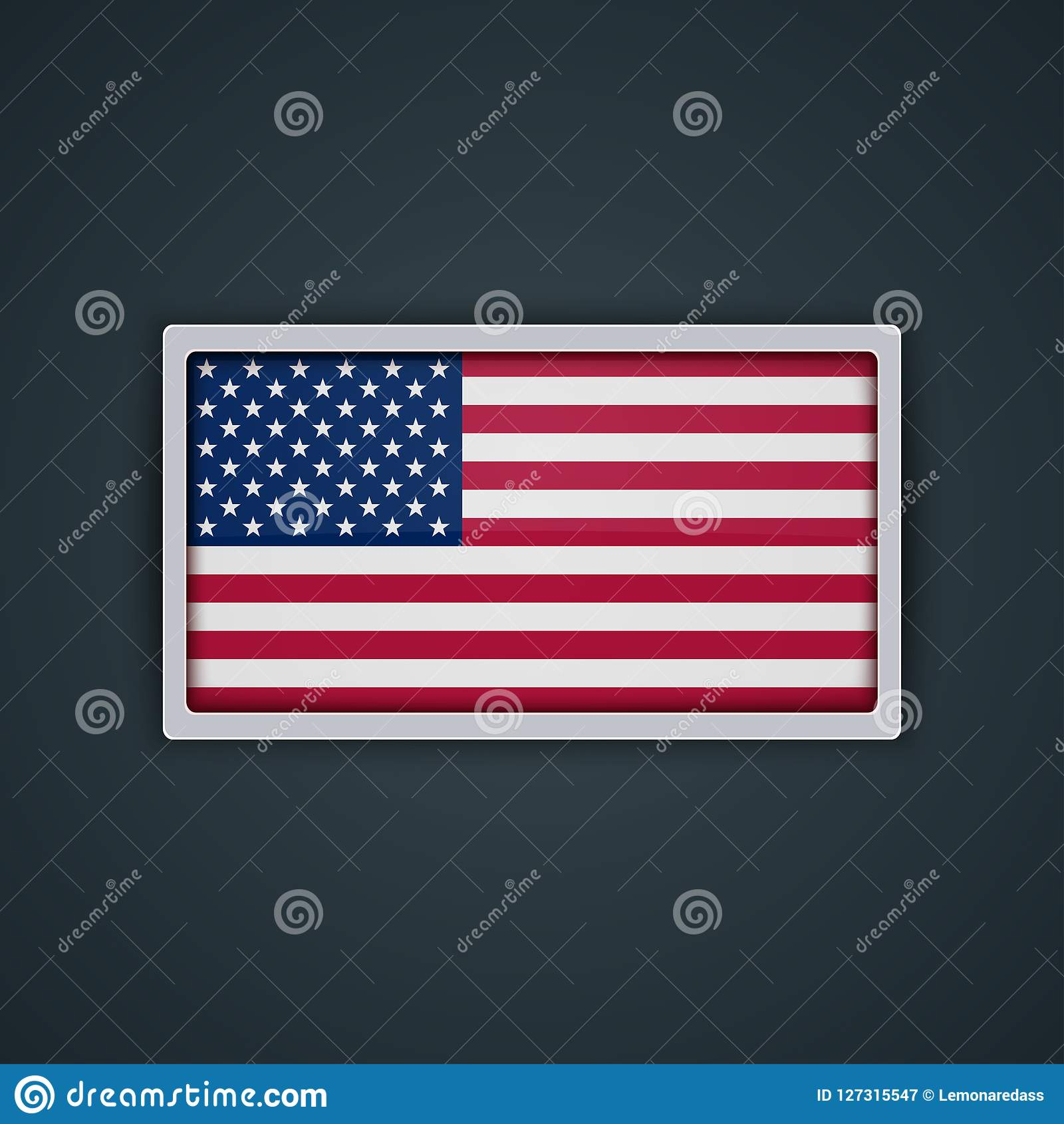 Style en verre de bouton de drapeau des USA avec le cadre en métal