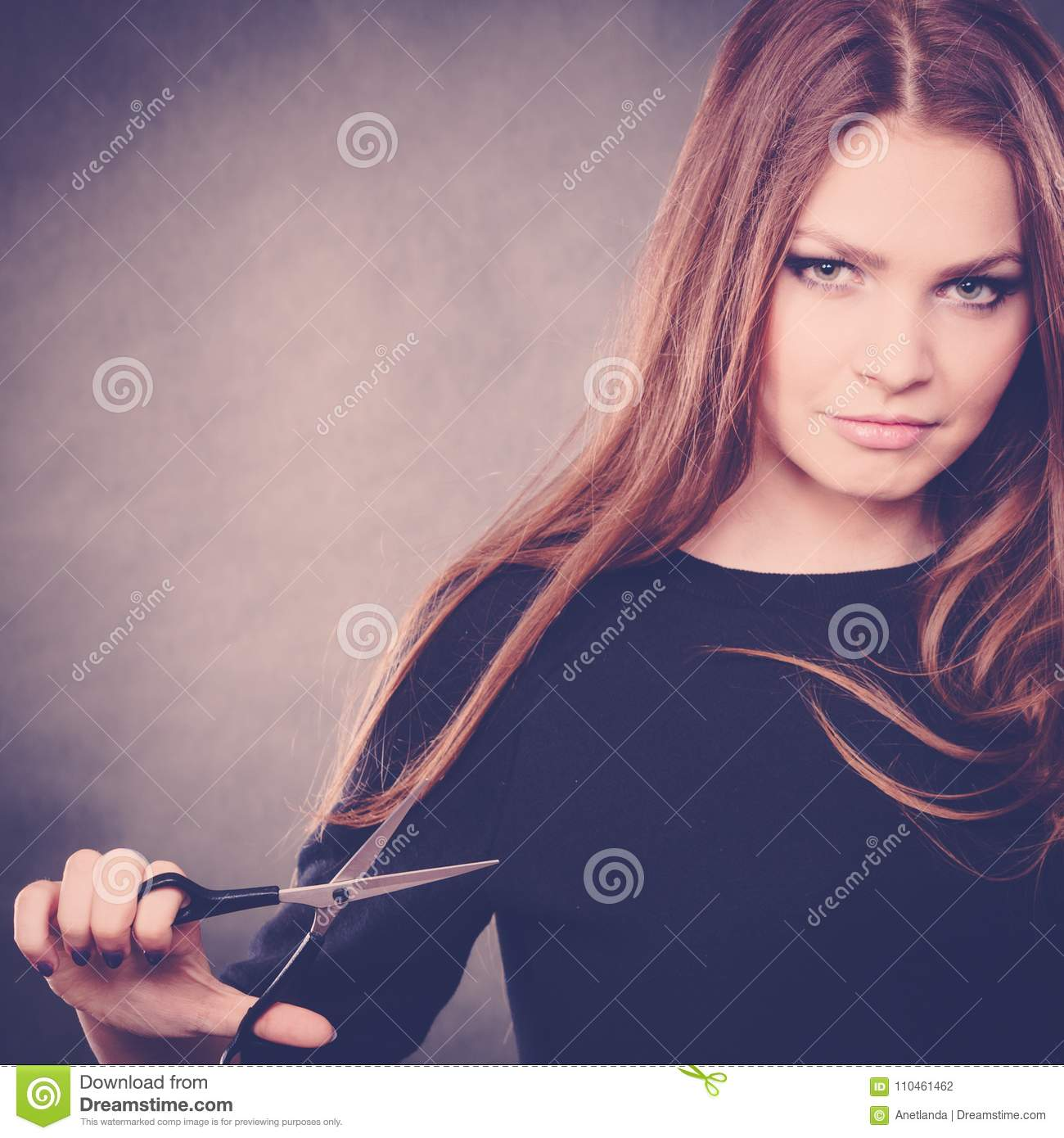 Female Hairstylist Barber With Scissors Stock Photo Image Of