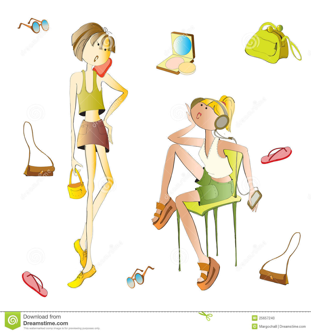 Style Girl Fashion Phone Stock Vector Image Of Group 25657240