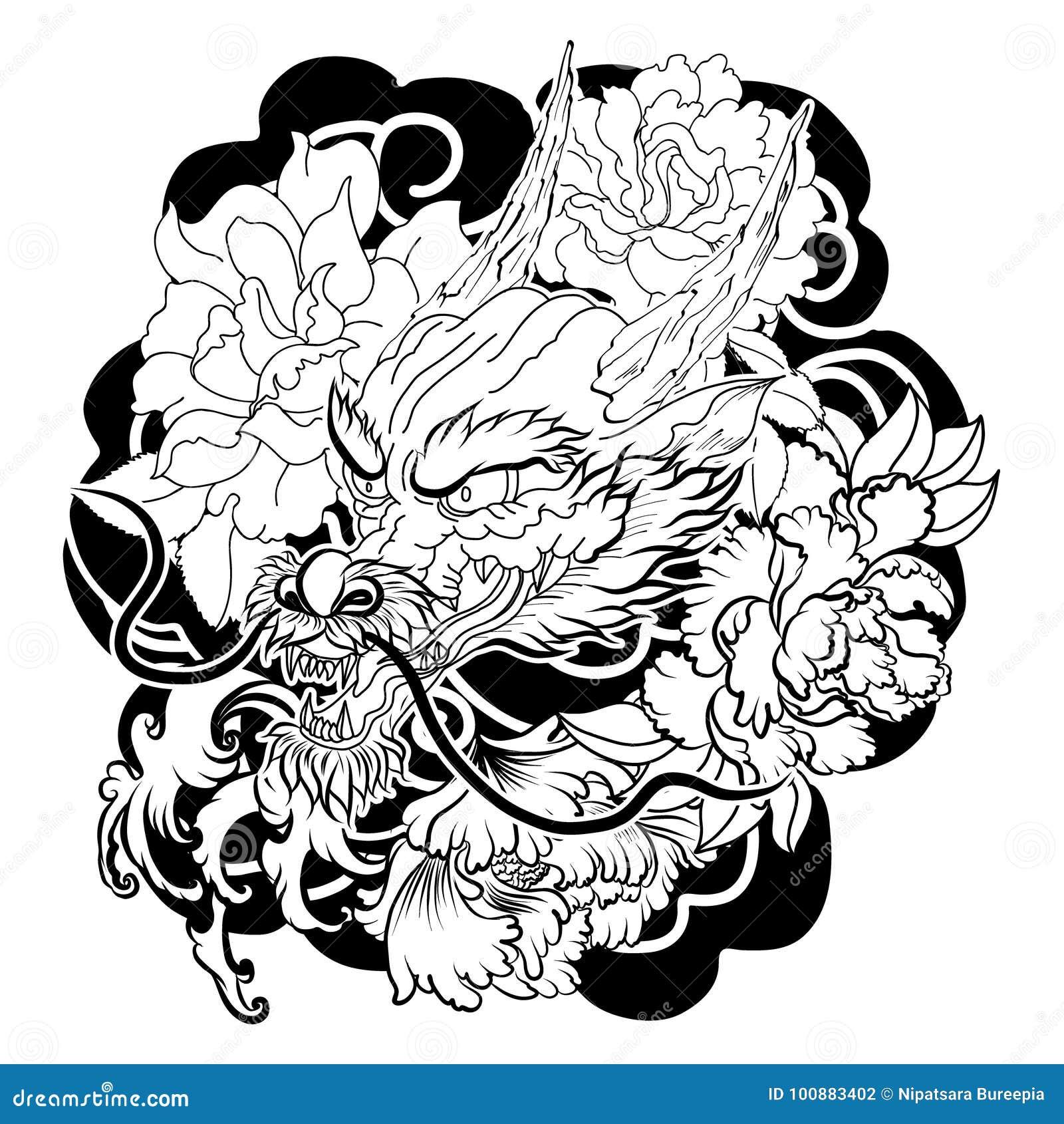 Style Japonais De Vieux Tatouage De Dragon Illustration De Vecteur