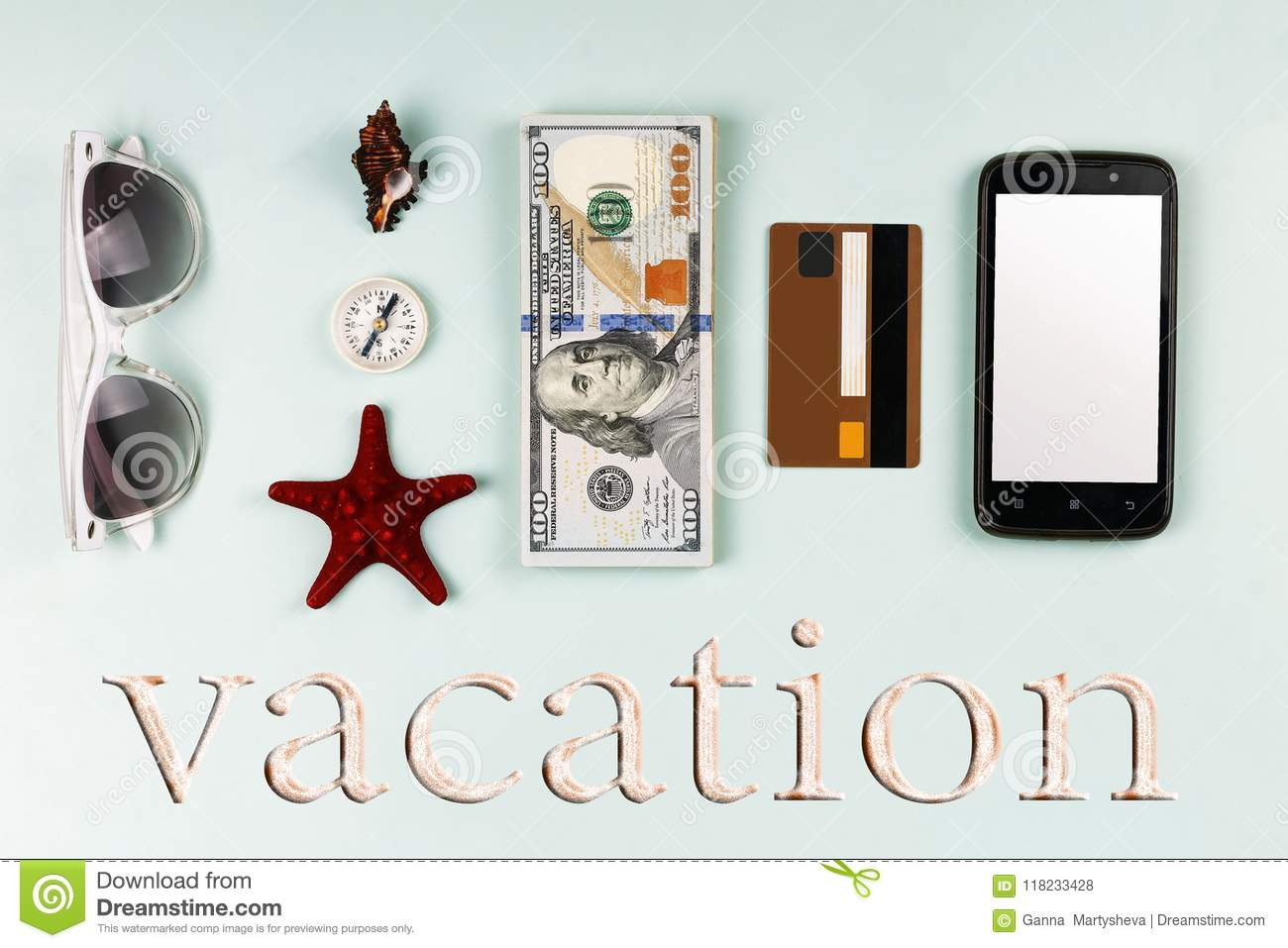 Style minimalism. Concept: vacation on a trip, summer accessories, dollars, flat lay, Summer holiday app presentation