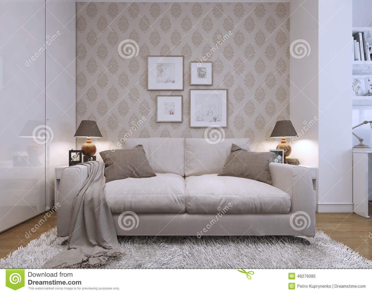 style moderne de chambre d 39 amis illustration stock image 48276085. Black Bedroom Furniture Sets. Home Design Ideas