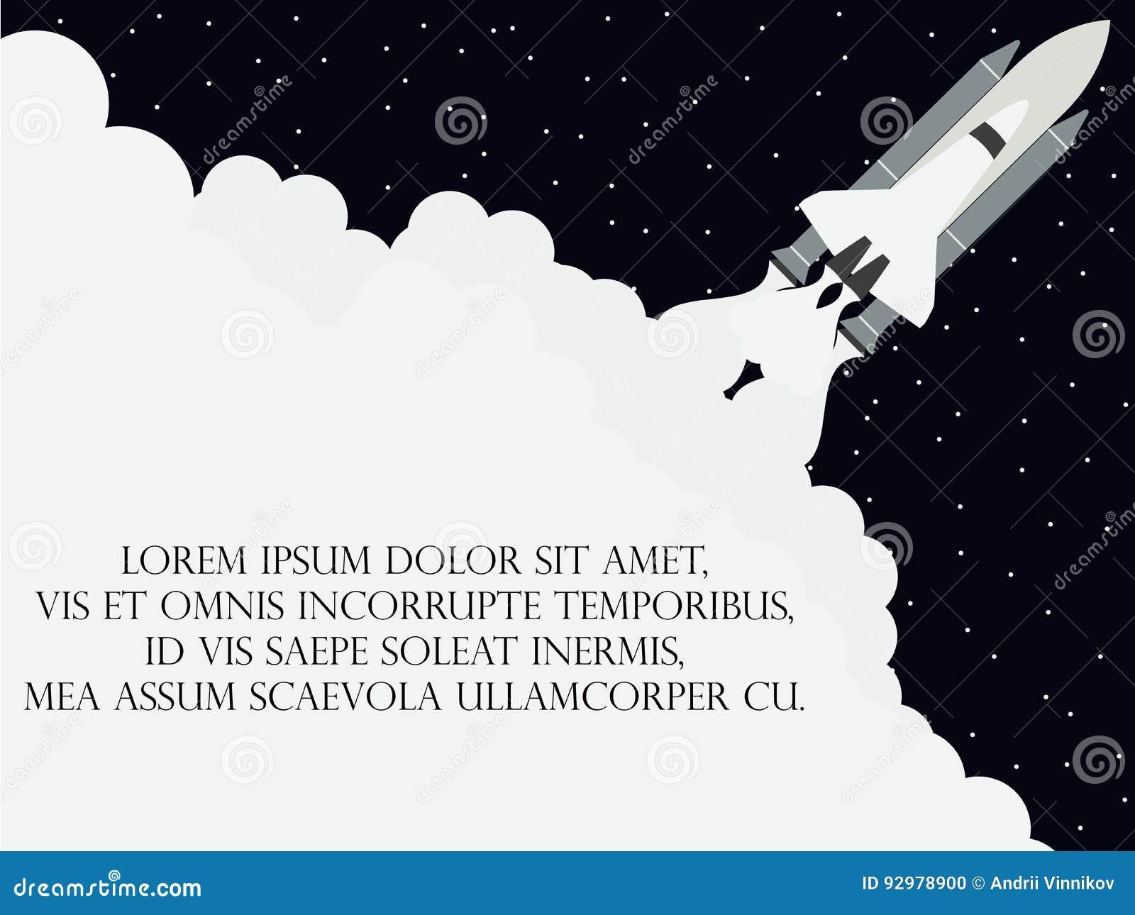 Style plat de navette spatiale Lancement du satellite Vaisseau spatial de décollage Vecteur
