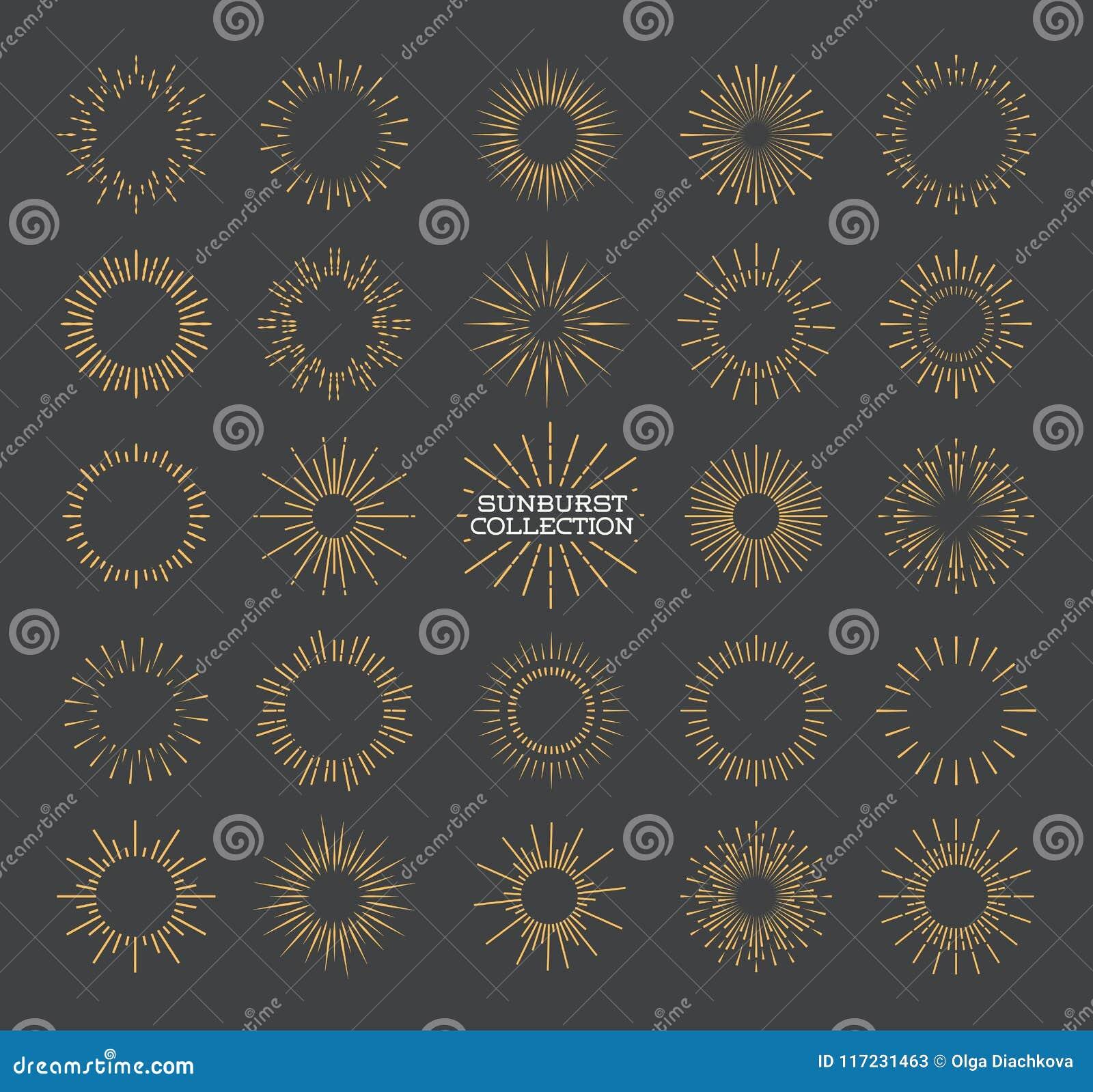 Style réglé d or de rayon de soleil d isolement sur le fond gris pour le logotype
