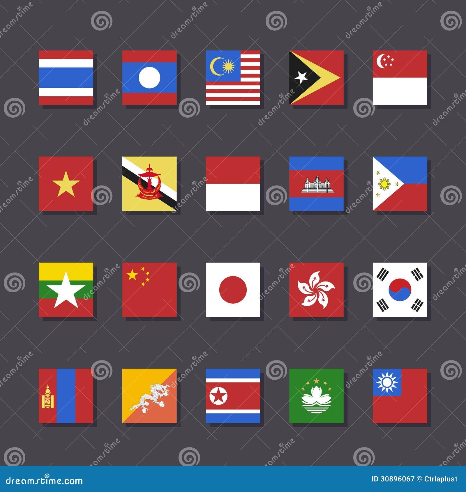 Style réglé de métro d icône de drapeau de l Asie de l Est