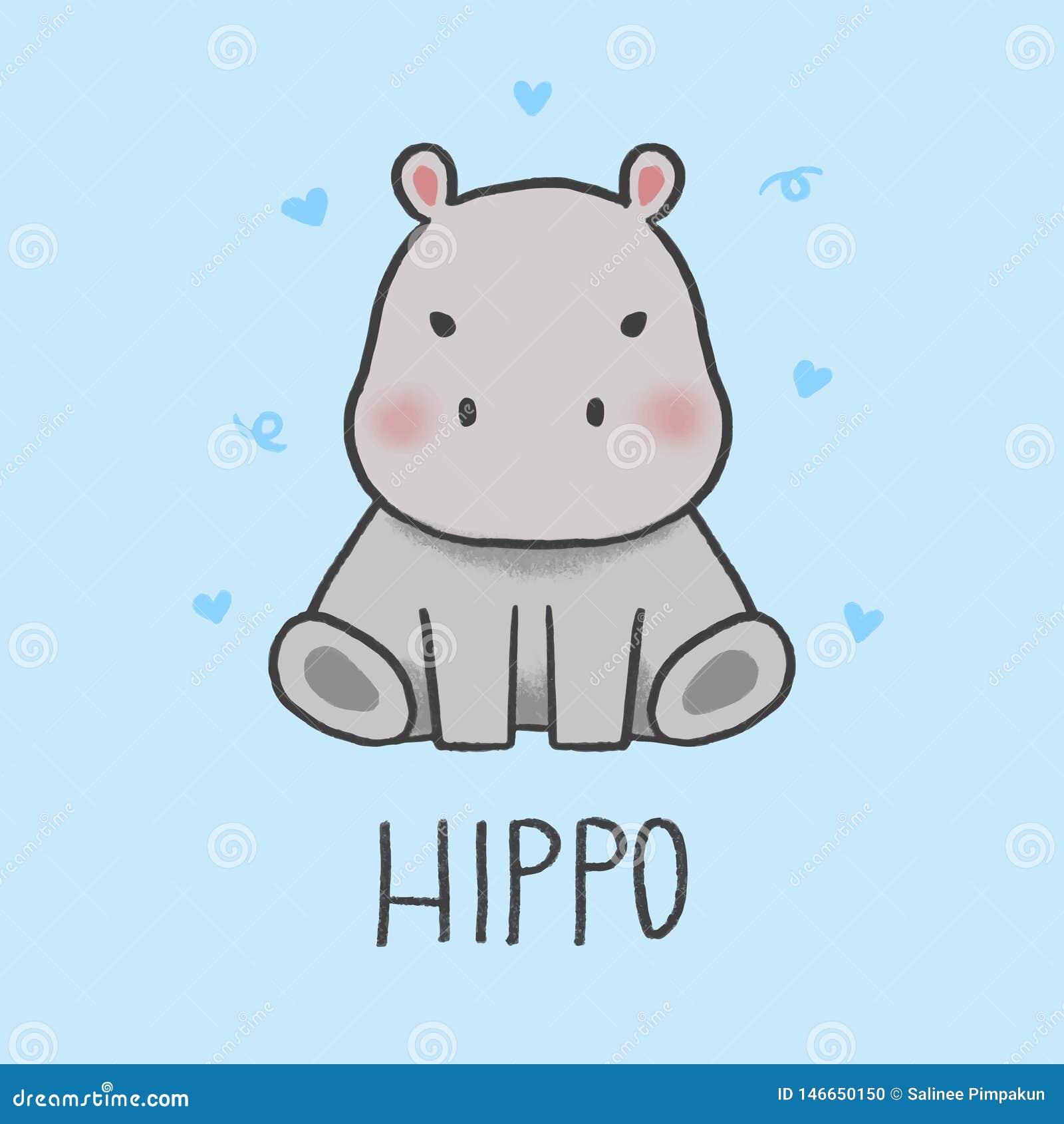 Style tiré par la main de bande dessinée mignonne d hippopotame