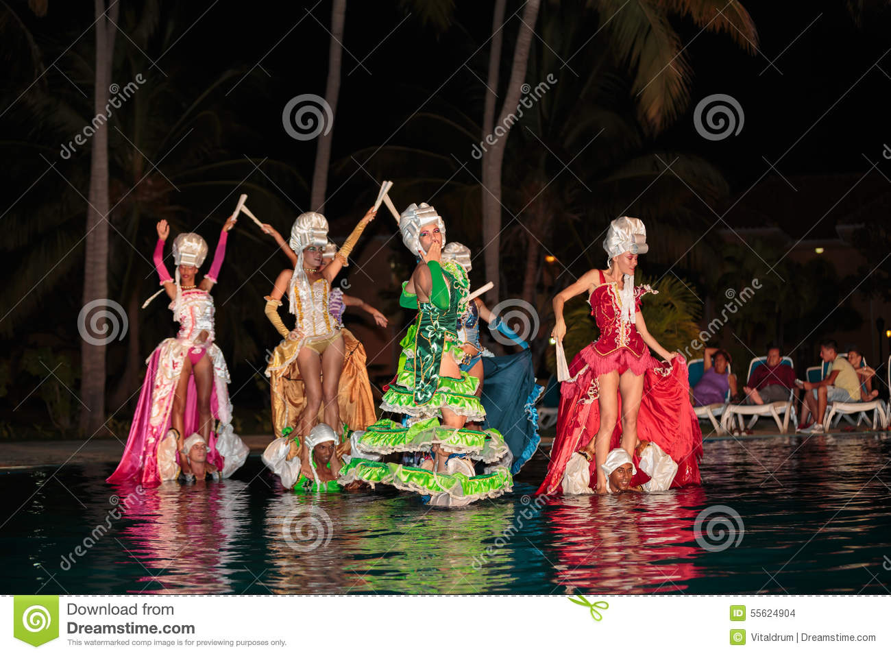 Styled dance performed at night water pool by cuban for Pool dance show