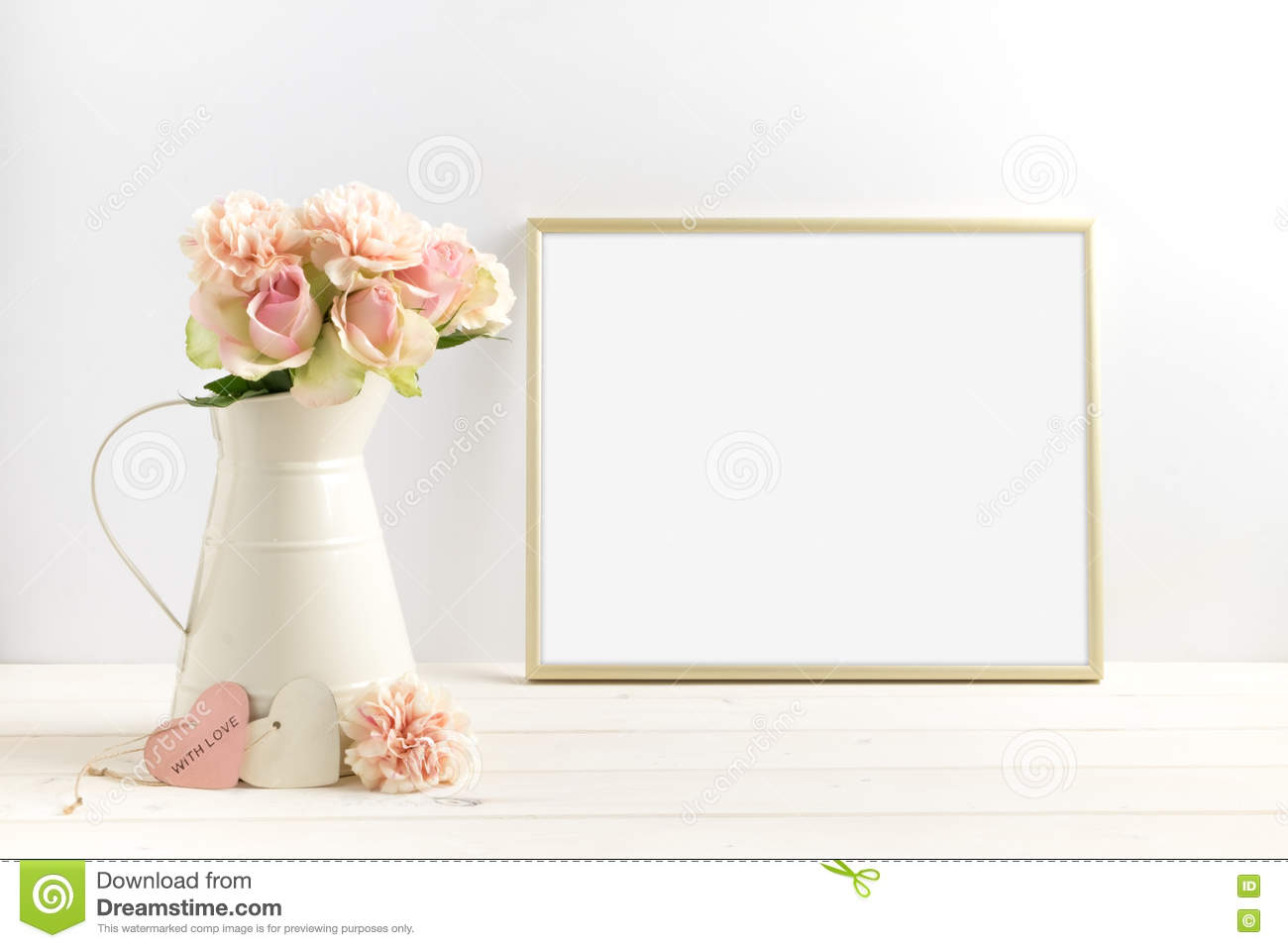b5e5a9471333 Mockup styled stock photograph of cream jug of flowers next to a Gold frame.  You can place your business promotion