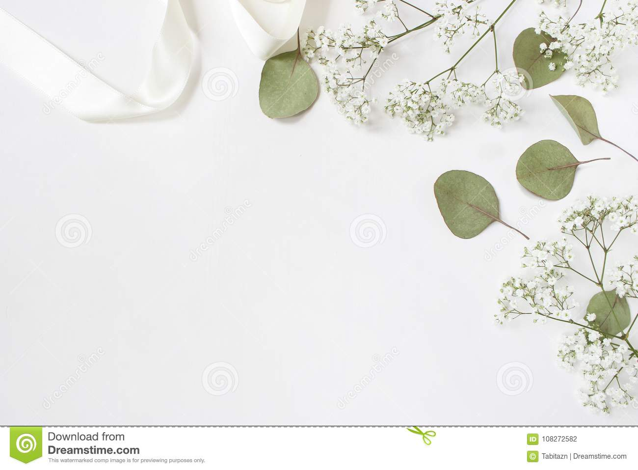 styled stock photo feminine wedding desktop mockup baby s breath gypsophila flowers dry green eucalyptus leaves satin ribbon 108272582
