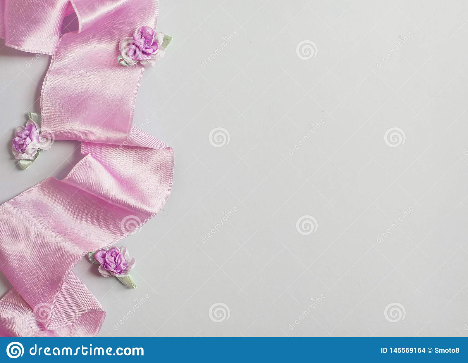 Styled stock photo. Feminine wedding desktop mockup with baby`s breath Gypsophila flowers, dry green eucalyptus leaves, satin