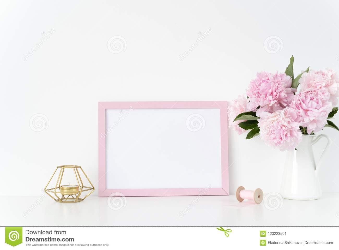 Pink Landscape Frame Mock Up With A Pink Peonies, Candle And Silk ...