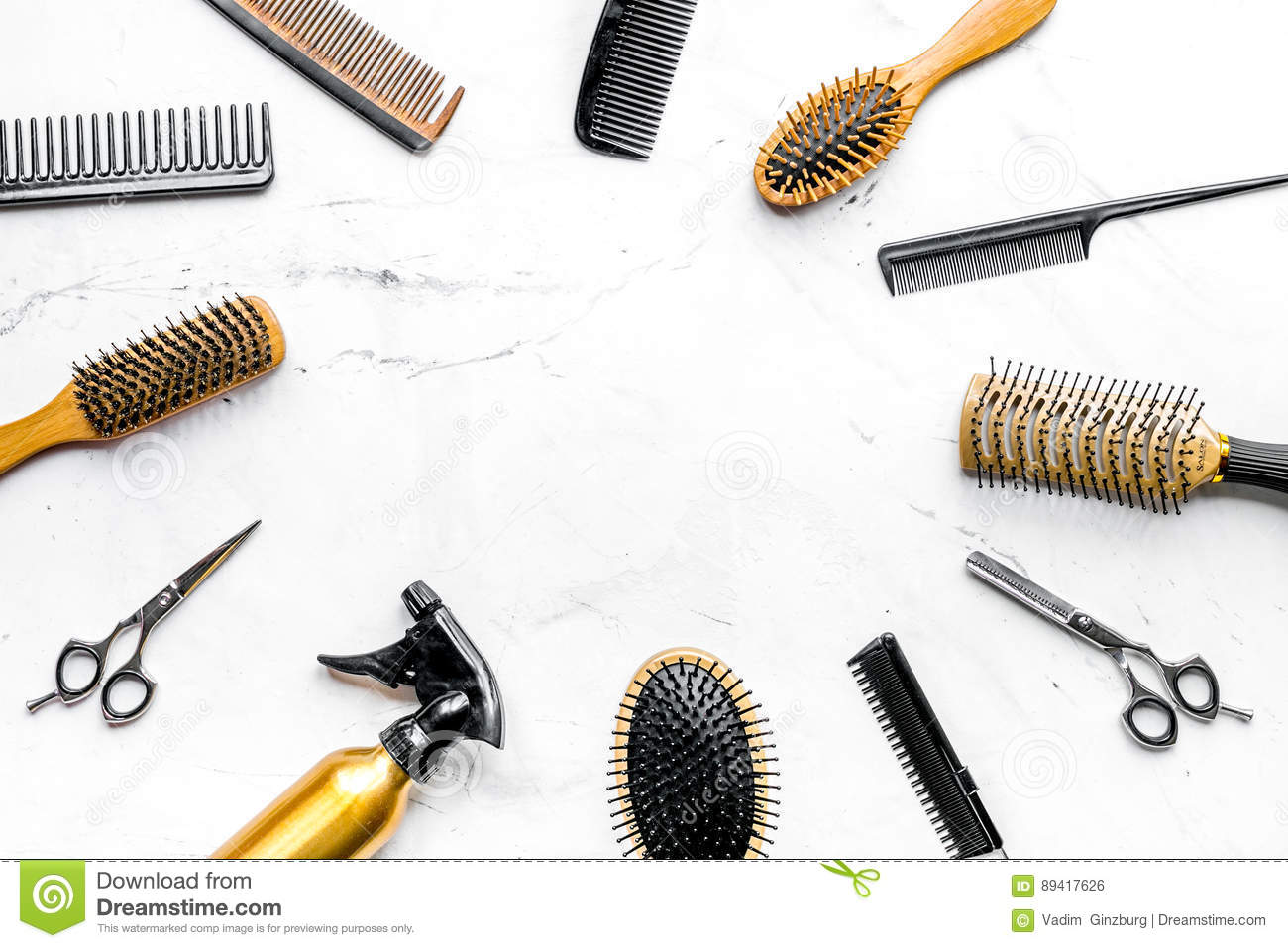 Styling Hair With Tools In Barbershop On White Background ...