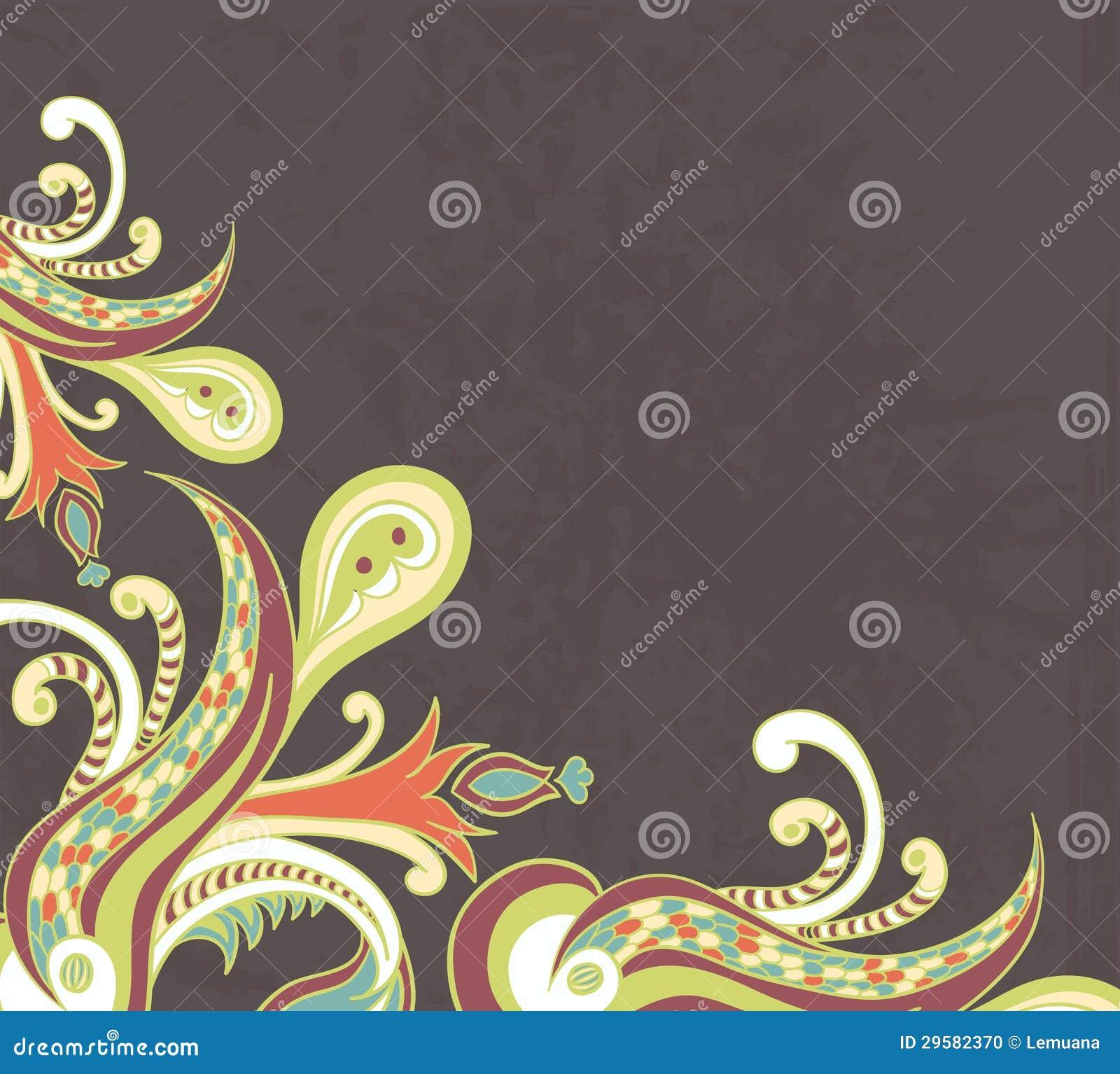Stylised Flowers On Grunge Background Stock Vector ...