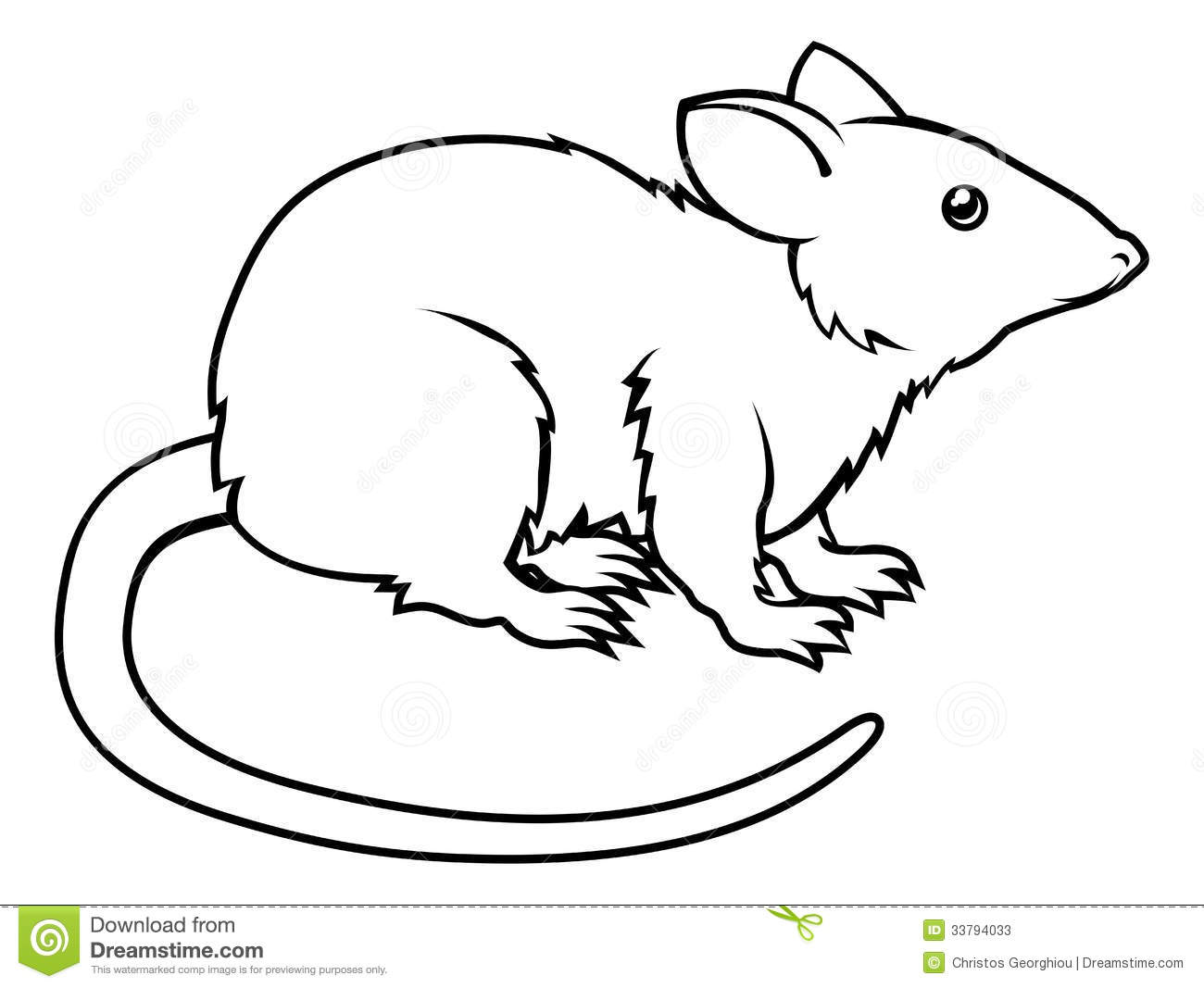 An illustration of a stylised rat perhaps a rat tattoo.