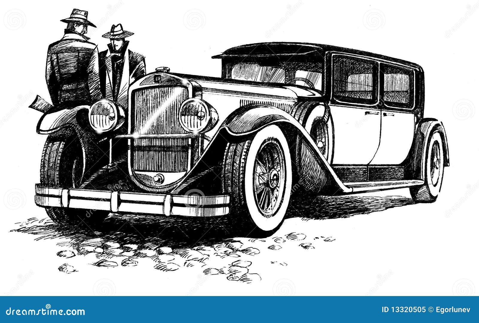 stylish ancient car stock illustration  image of land