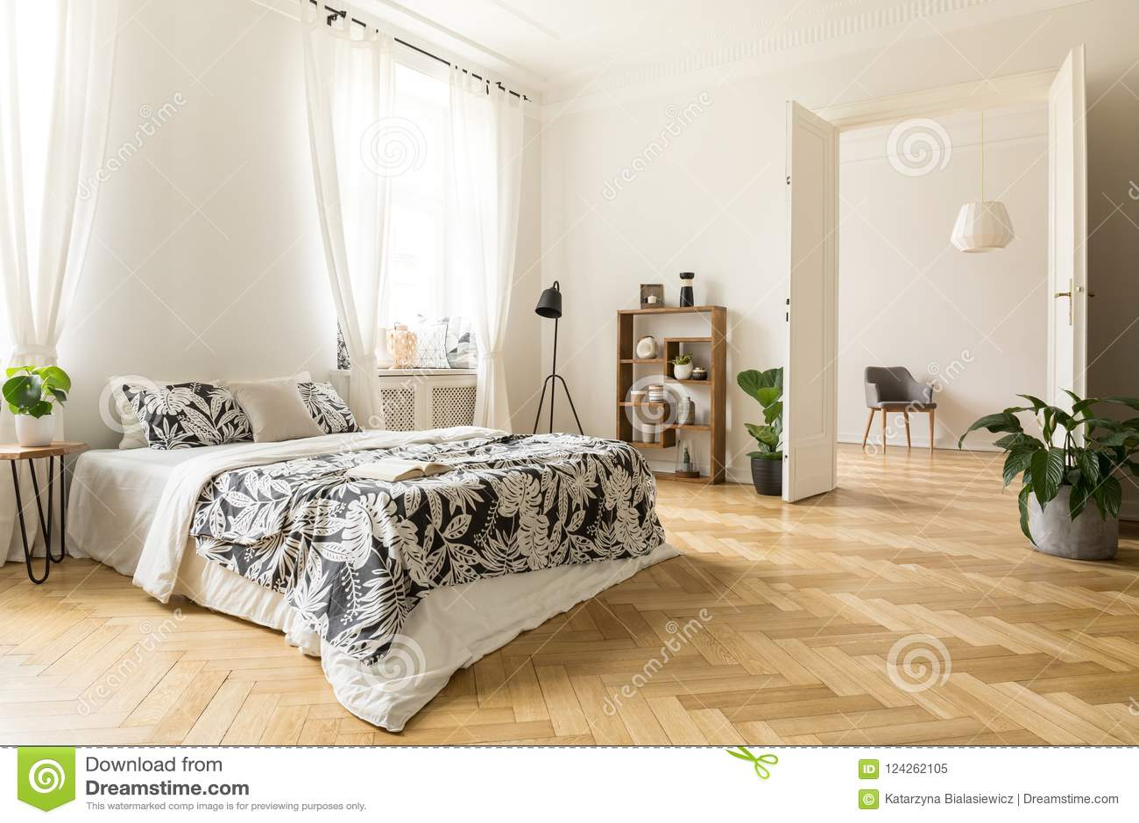 Stylish Apartment Interior With White Walls And Herringbone Wood ...