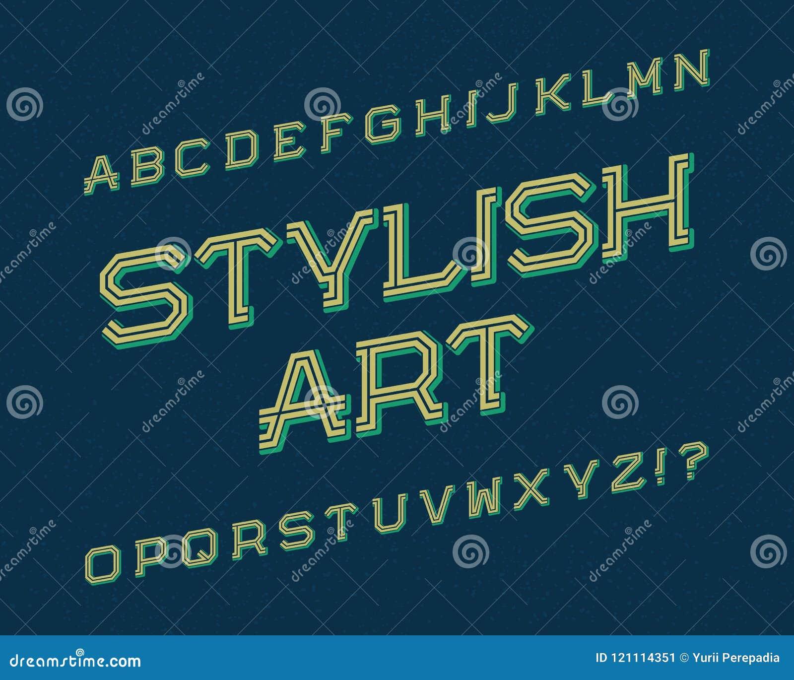 Stylish Art Typeface  Retro Font  Isolated English Alphabet