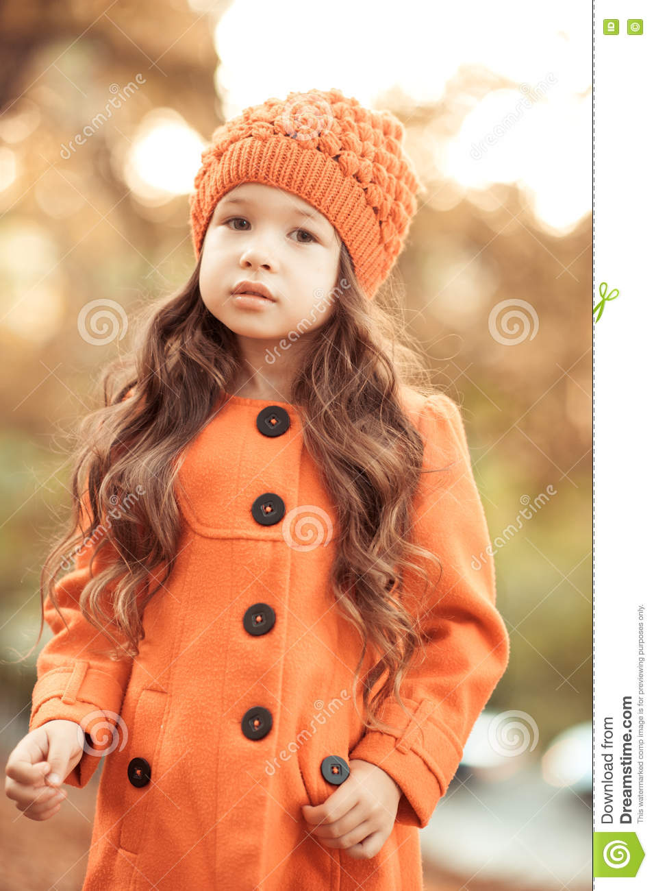 ad8e69478 Stylish Baby Girl In Winter Jacket Outdoors Stock Photo - Image of ...