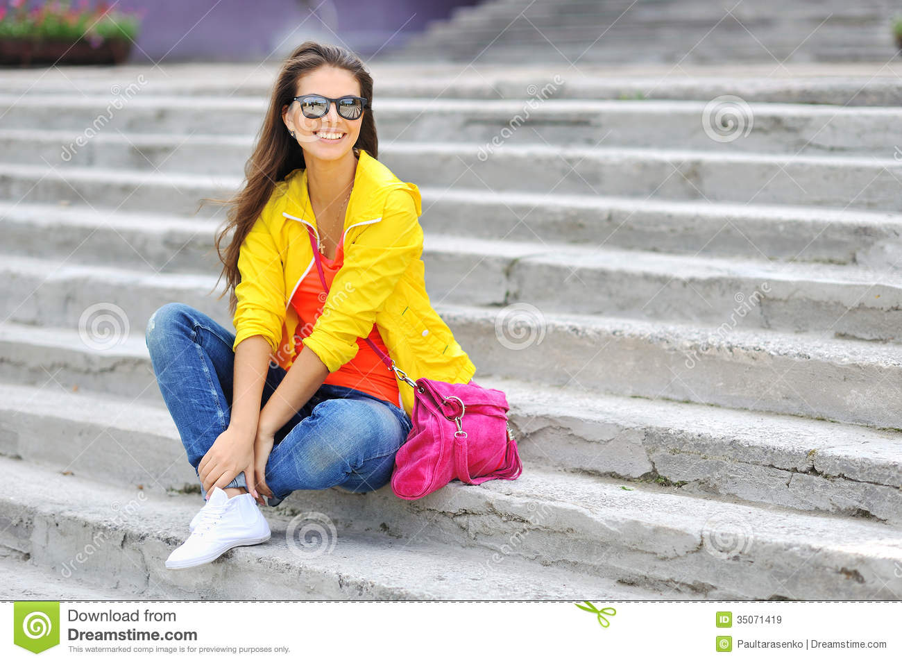 5bfa8299944 Stylish Beautiful Girl Sitting On A Stairs In Colorful Clothes W ...