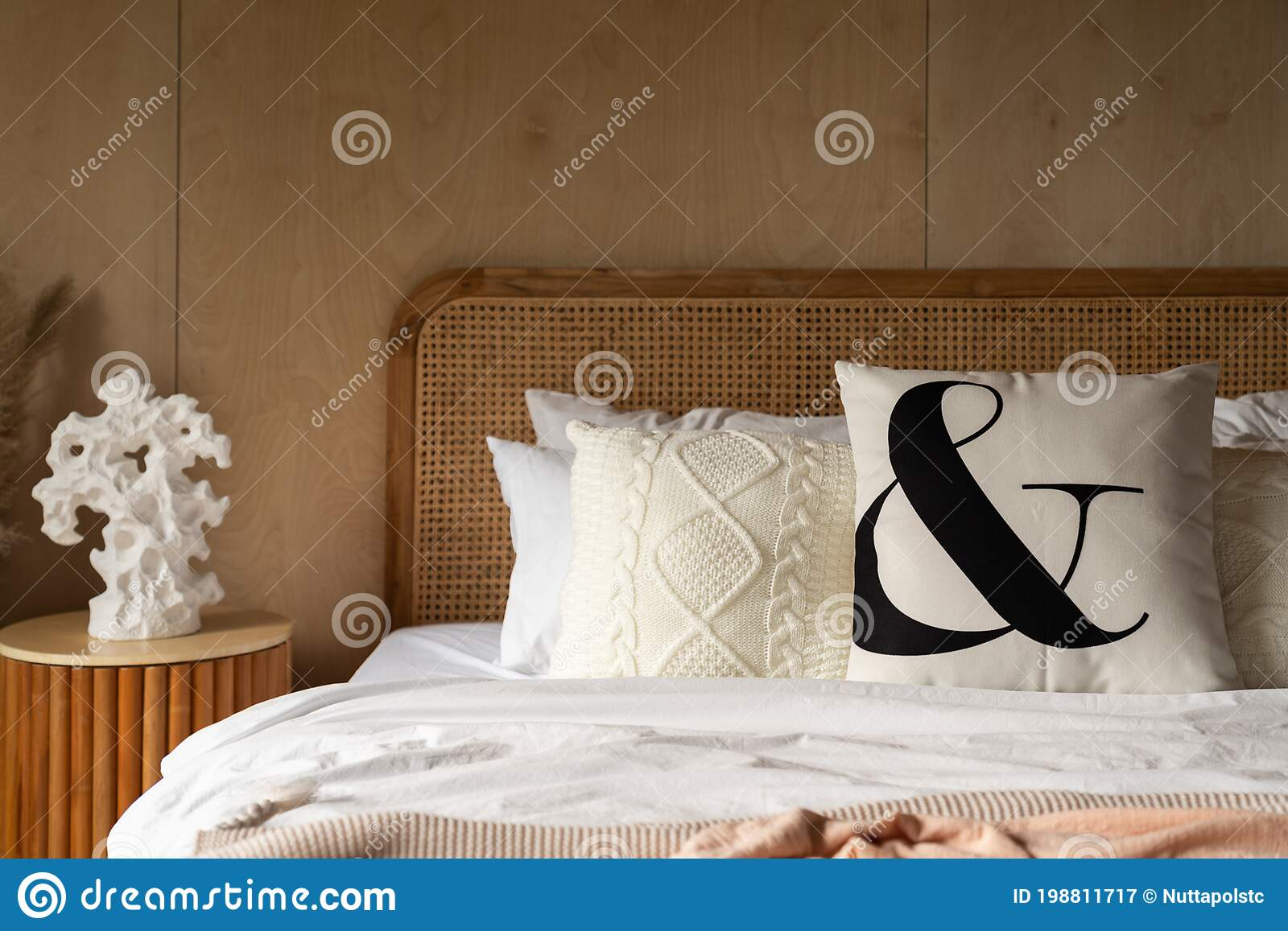 Stylish Bedroom Corner With Rattan Headboard Bed And Soft Pillow Decoration With With Plywood Wall On The Background Cozy Stock Image Image Of Lamp Isolated 198811717