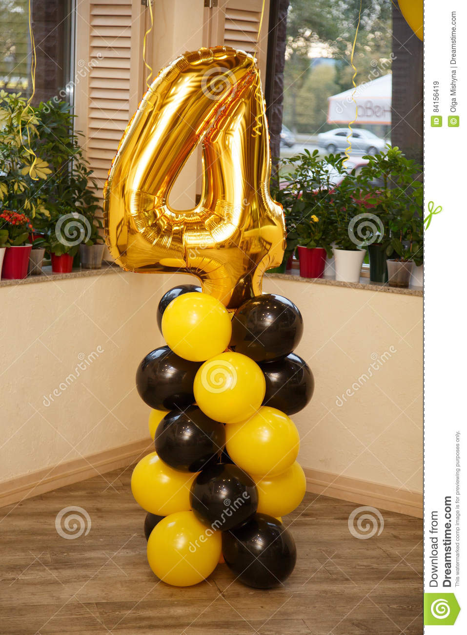 Birthday Party For Child Four Years Old Yellow And Black Colors Stylish Decorations Little Boy On His Fourth