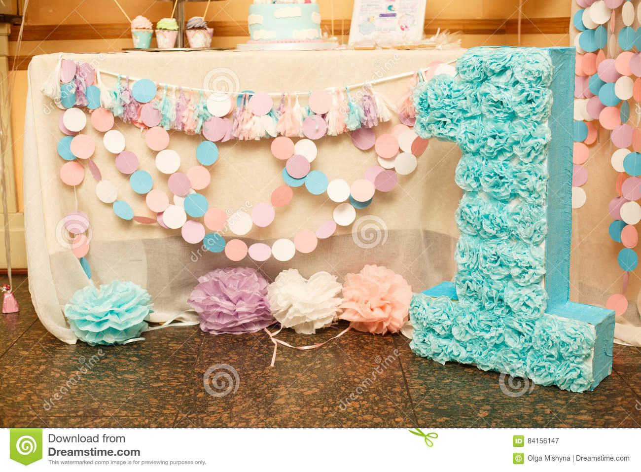 Birthday Party For Child One Years Old Pink Mint And White Colors Stylish Decorations Little Girl On Her First