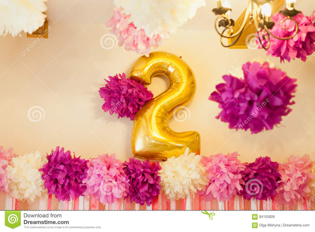 Birthday Party For Child Second Years Old Pink And Golden Colors Stylish Decorations Little Girl On Her