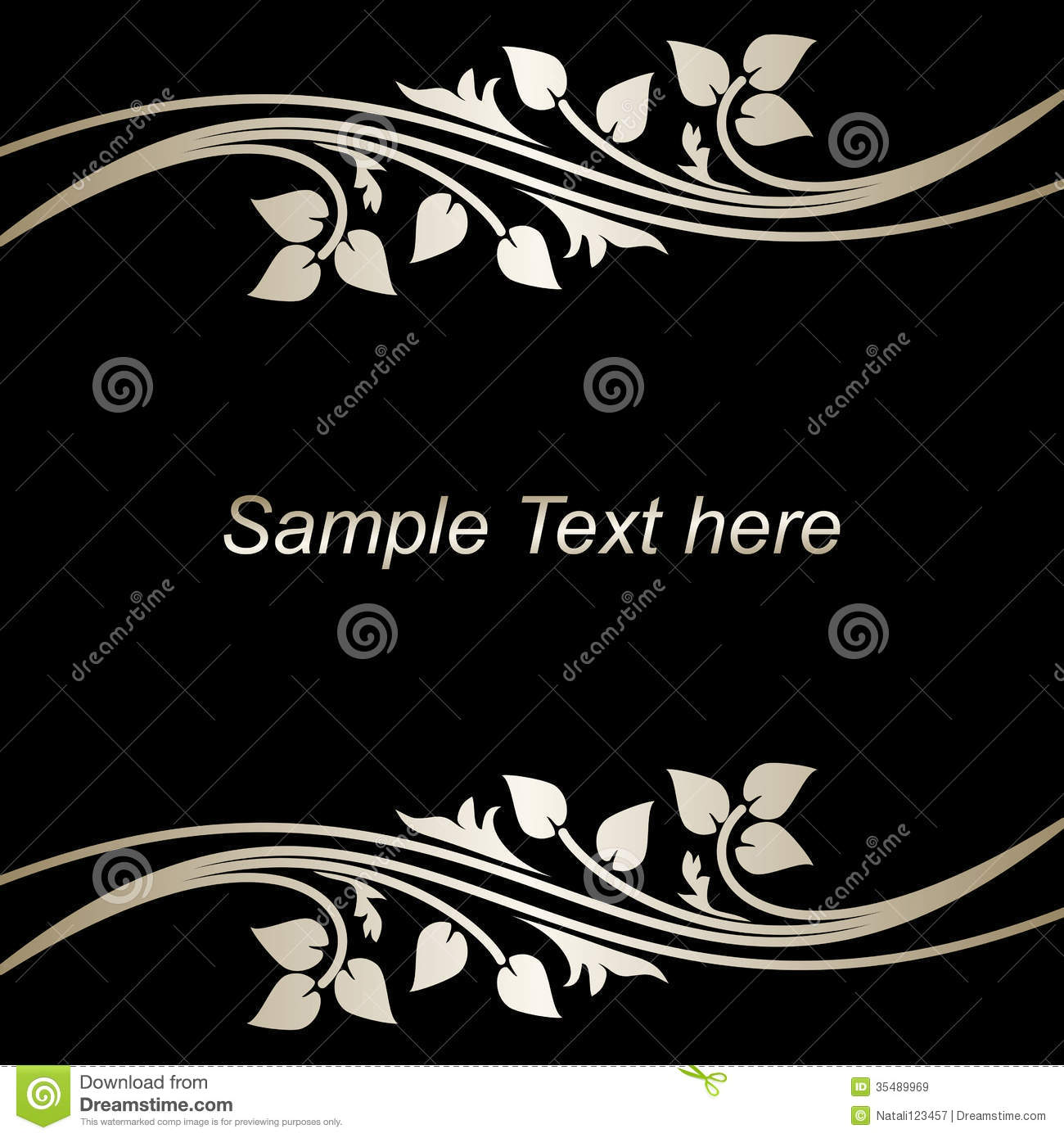 Stylish Black Background With Silver Borders Stock Vector