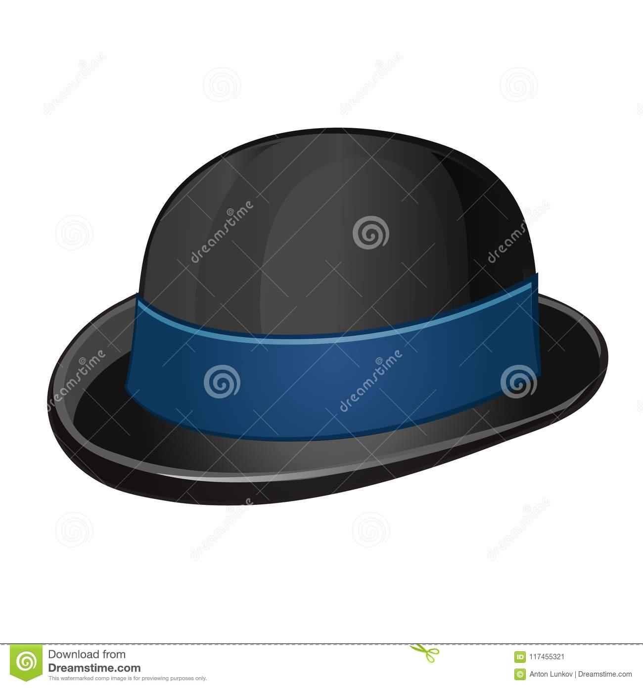 0b3127b2ec4 A stylish black bowler hat with blue ribbon isolated on a white background.  Vector illustration.