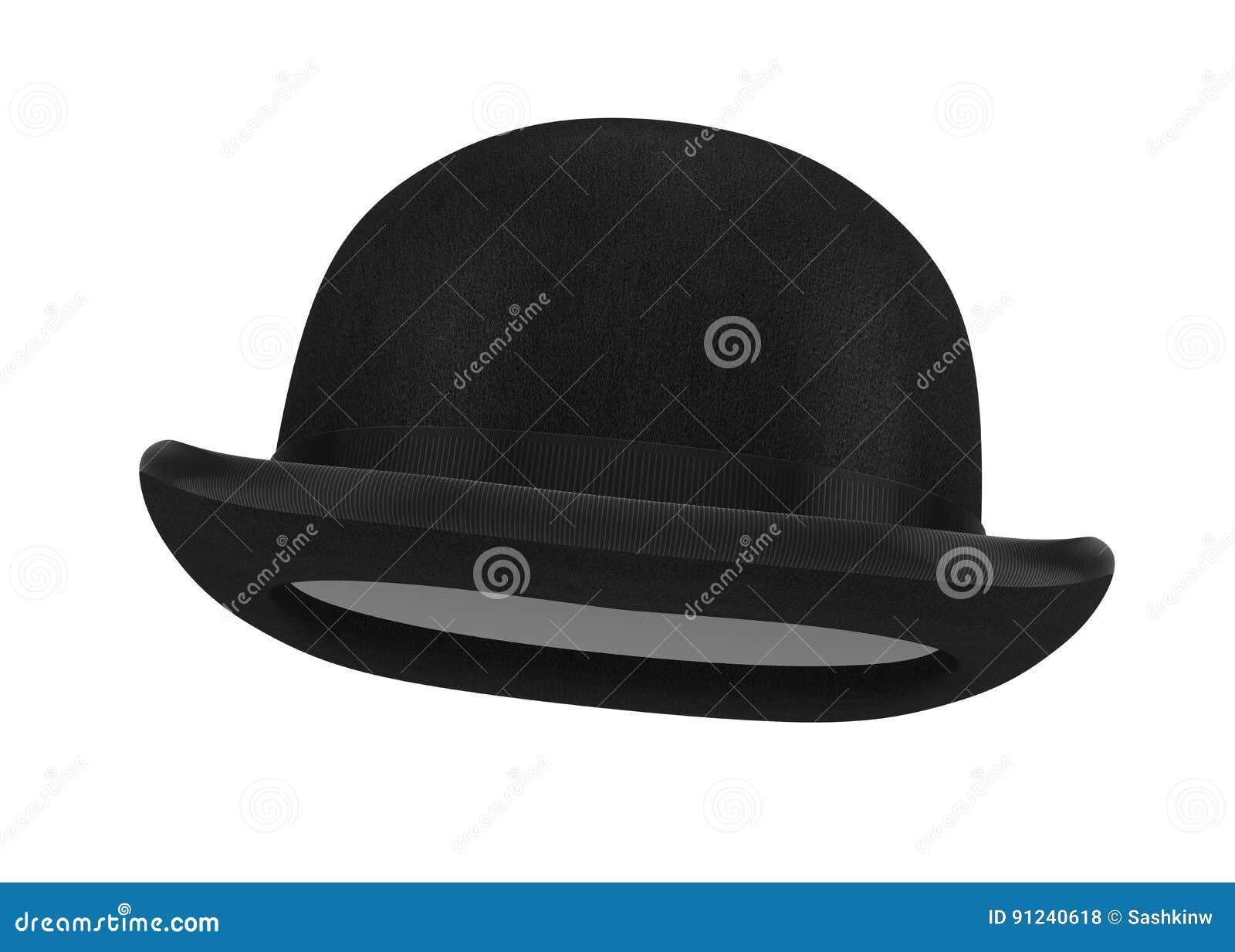 b664821f783 Stylish Black Bowler Hat On A White Background Stock Illustration ...
