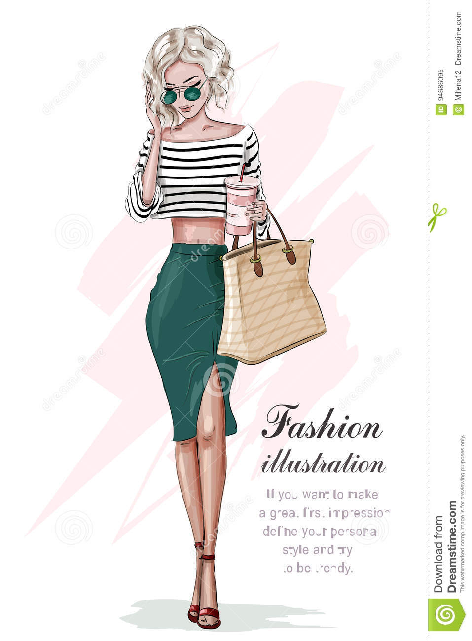 Stylish blonde girl in fashion clothes, with bag and coffee cup. Hand drawn beautiful girl. Fashion woman. Sketch.