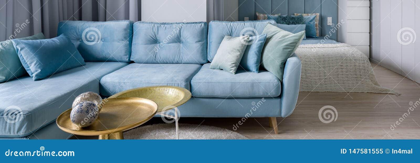 Stylish Blue Corner Sofa, Panorama Stock Image - Image of ...