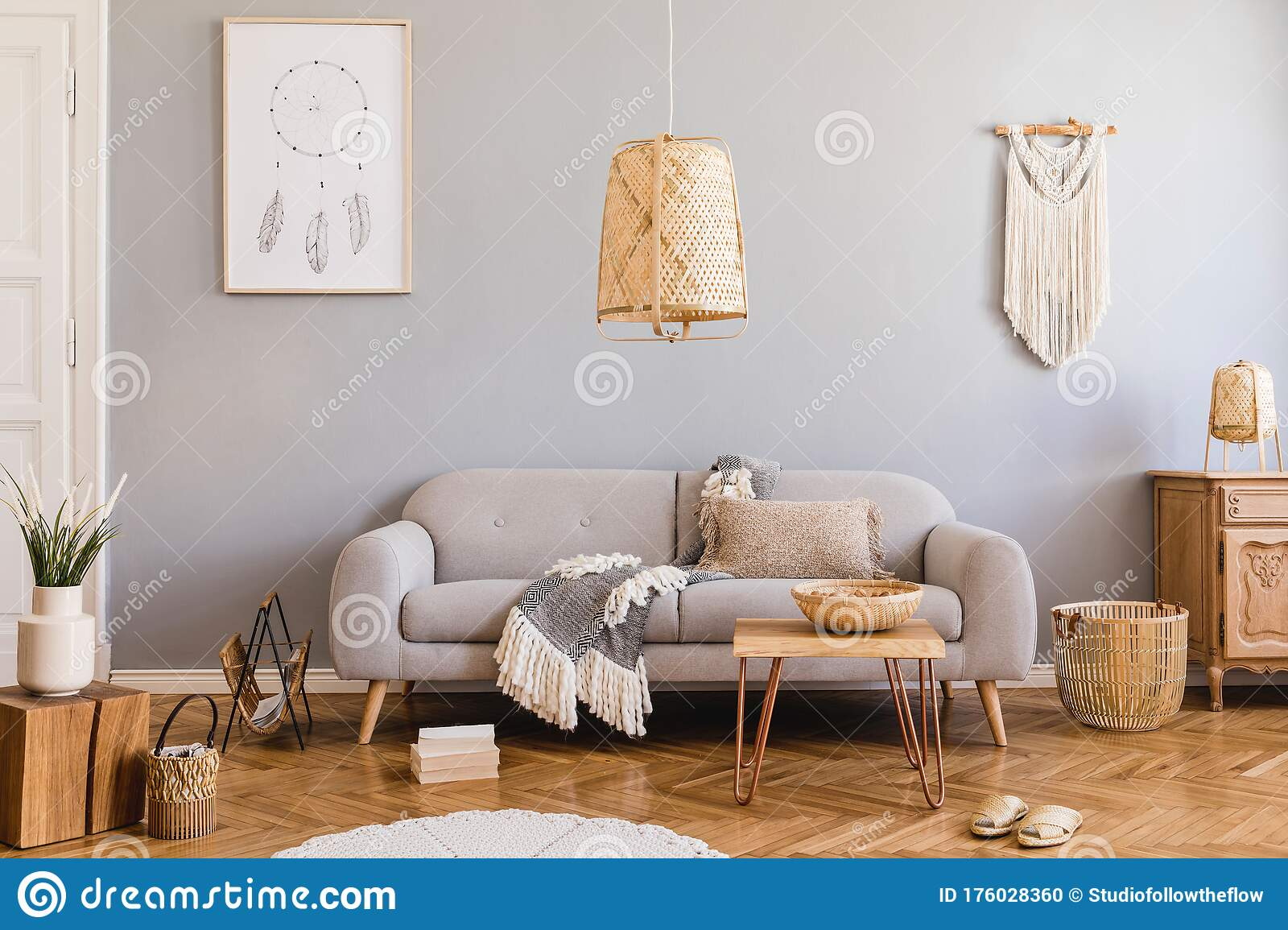 Boho Living Room With Grey Sofa And Natural Accessories Cosy Home Decor Stock Photo Image Of Inspiration Cosy 176028360