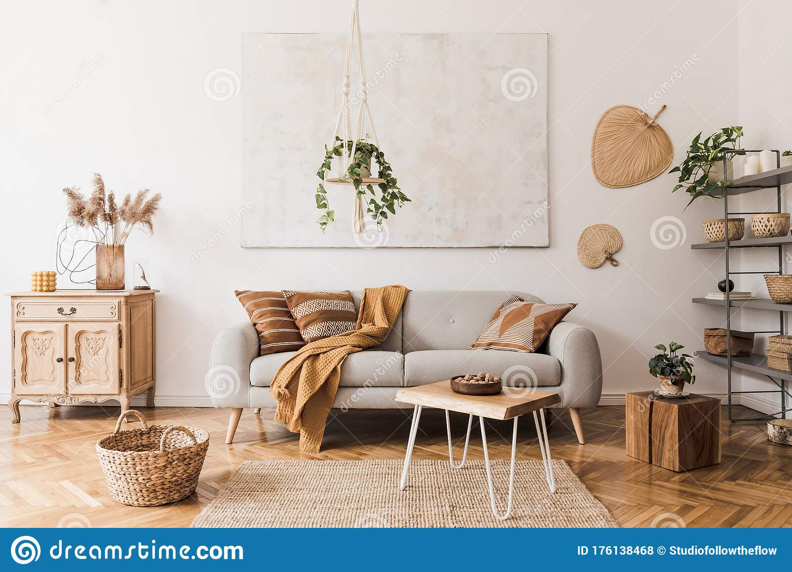 Modern Boho Interior Of Living Room At Cozy Apartment With Gray Sofa Stock Photo Image Of Furnitures Elegant 176138468