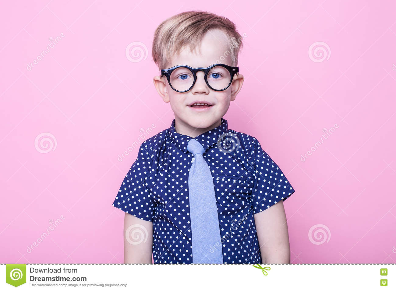 d6033780a901 Portrait of a little smiling boy in a funny glasses and tie. School.  Preschool. Fashion. Studio portrait over pink background