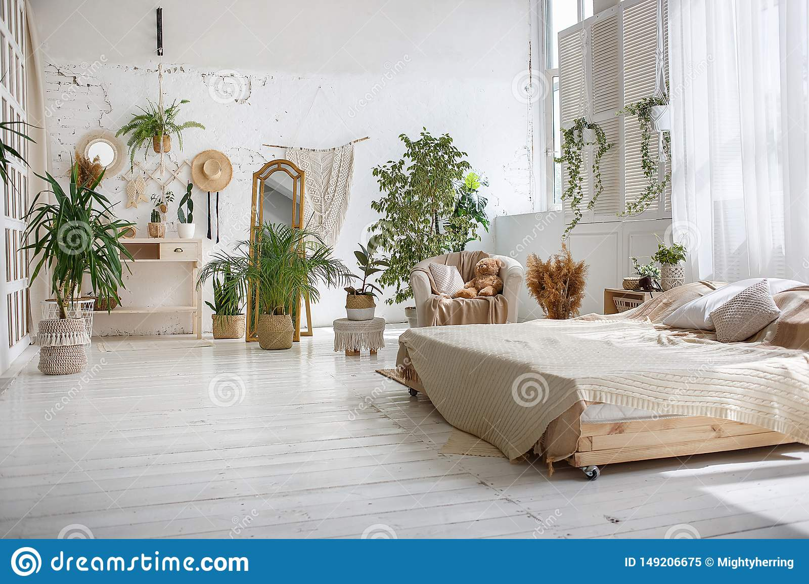 Stylish Bright Loft Cozy Room With Double Bed Armchair Green Plants Mirror White Brick Walls And Wooden Floor Stock Image Image Of Cozy Design 149206675