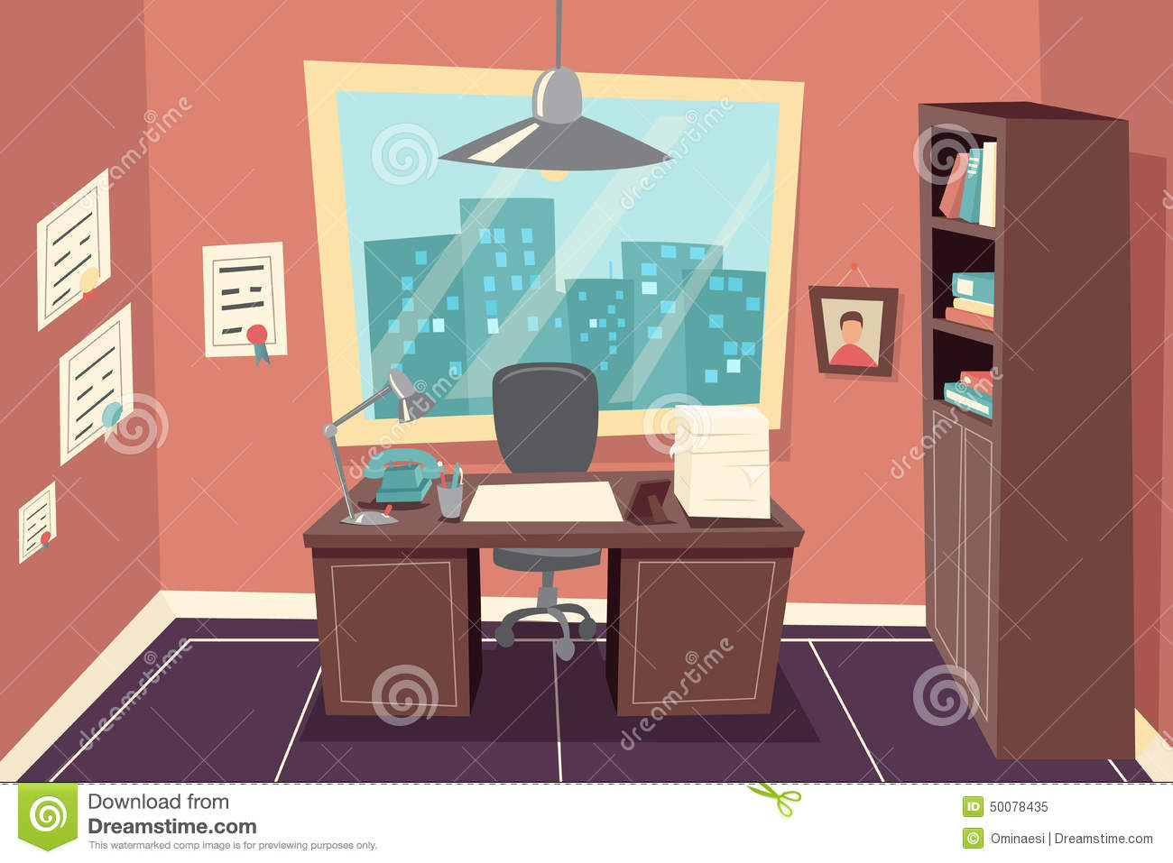 Stylish Business Working Office Room Background Stock Vector ...