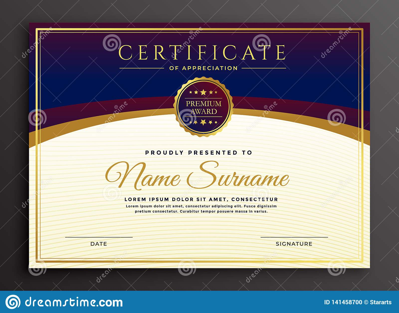 Stylish Certificate Design Professional Template Stock