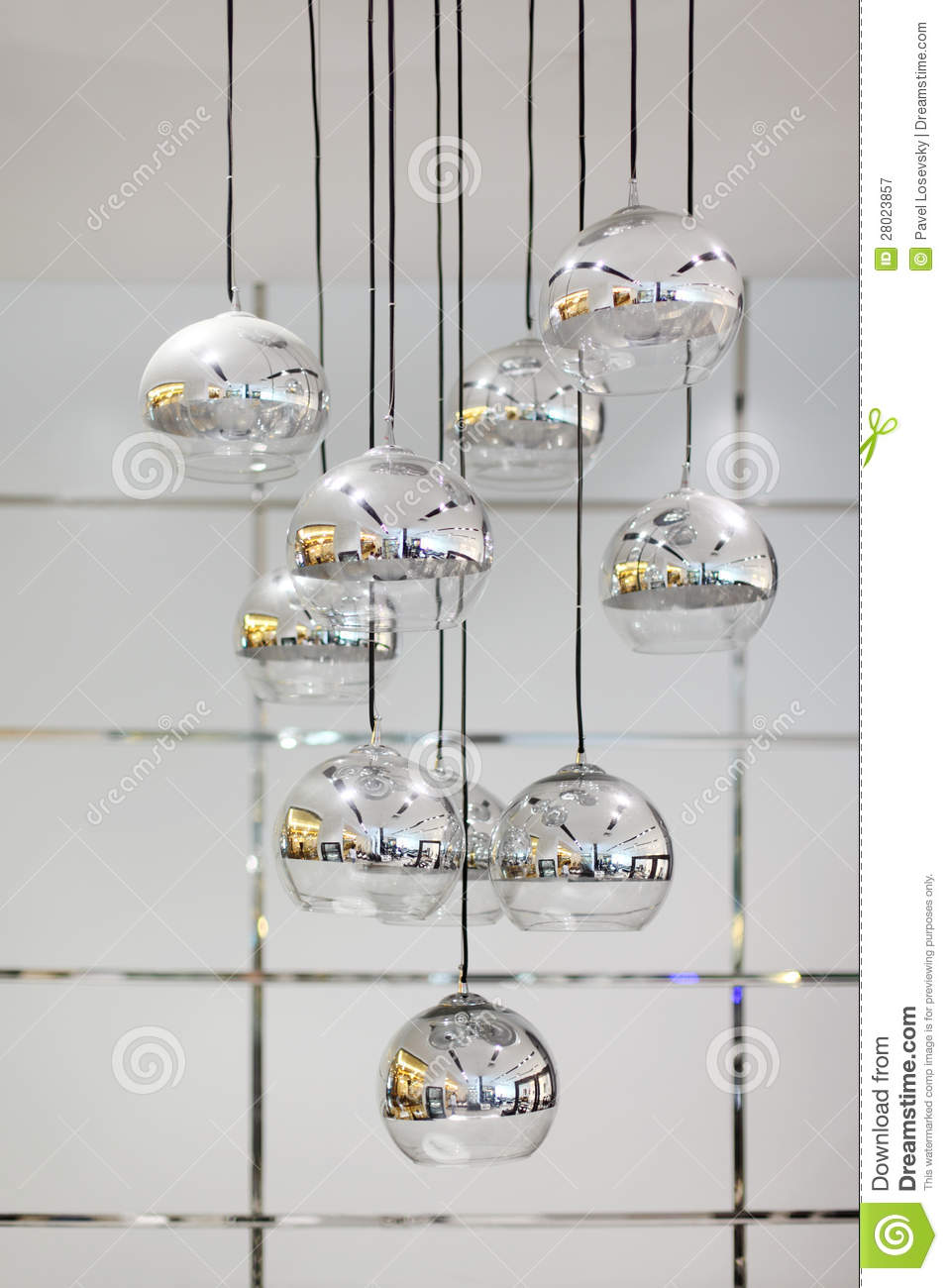 Stylish Chandelier With Round Mirror Shades Royalty Free