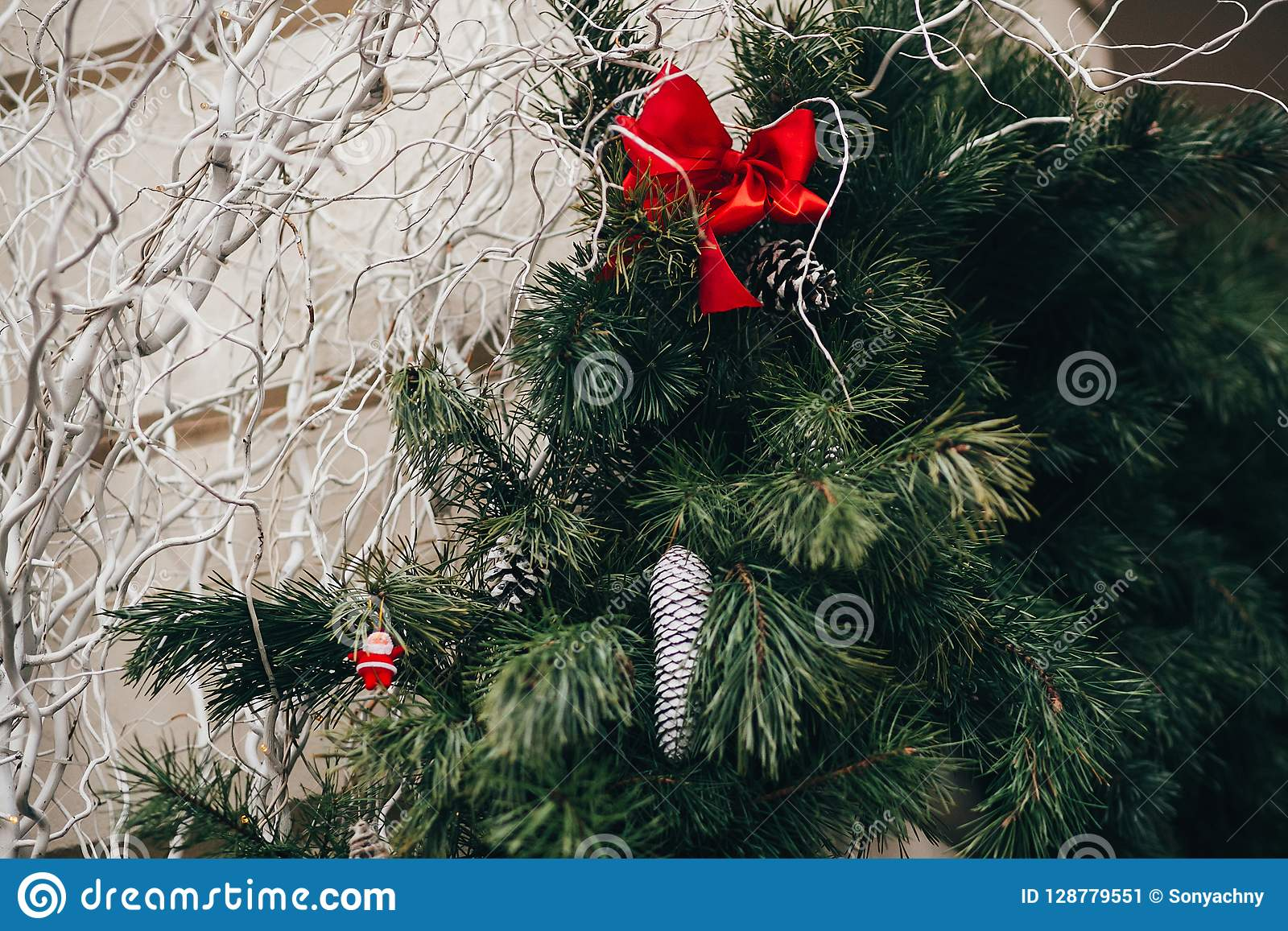 Stylish Christmas Decorations Green Christmas Wreath With Red B Stock Image Image Of City Decorative 128779551
