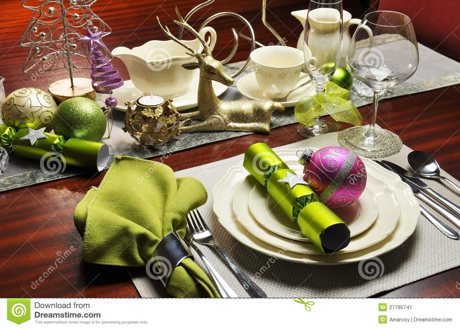 stylish christmas eve dinner table setting stock image