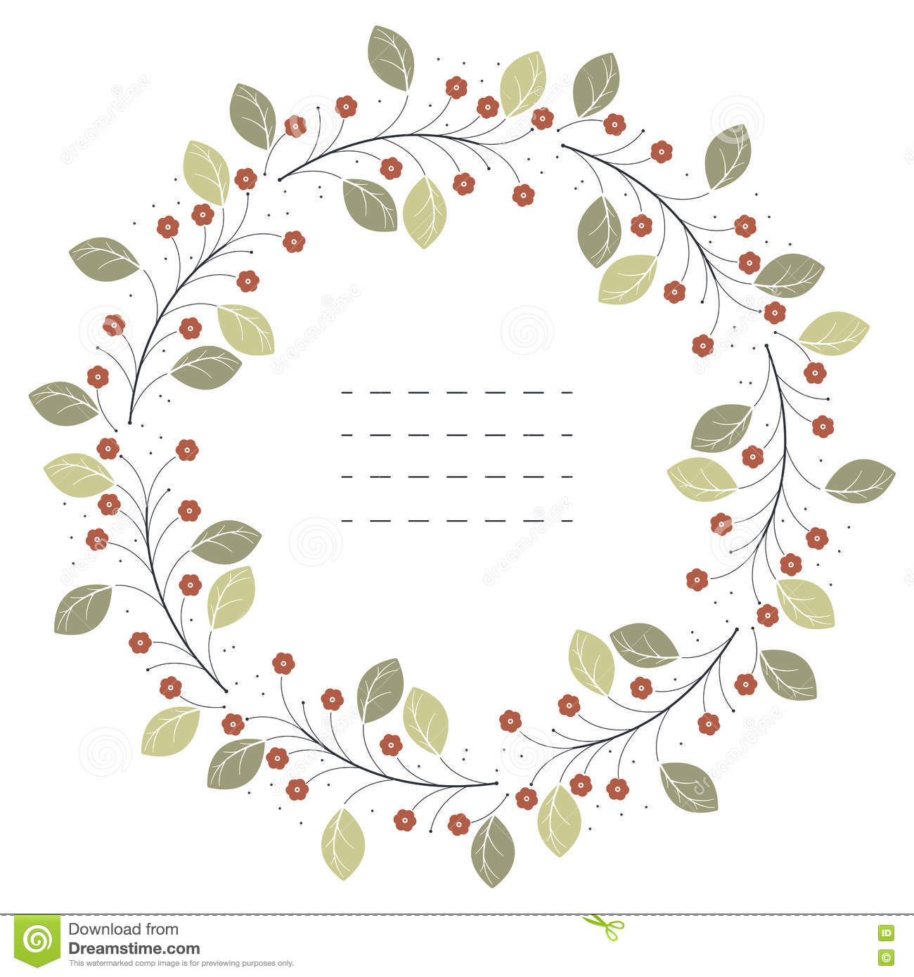 21ded336b502 Stylish Circle Frame With Red Flowers And Green Leaves Stock Vector ...