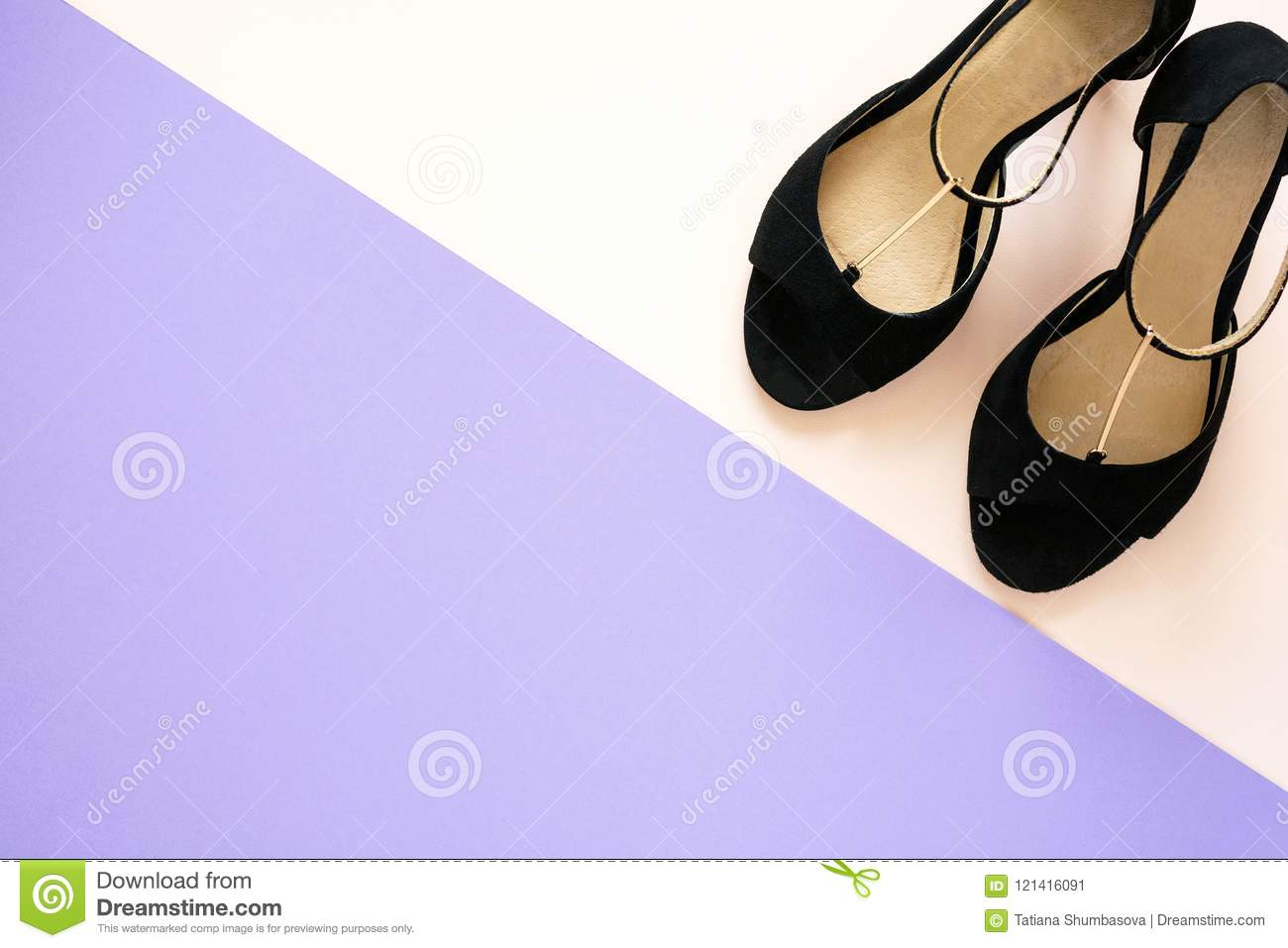 373b705bb Stylish classic black women`s leather sandals shoes with high heels on pink  purple multi-colored paper background. Copy space
