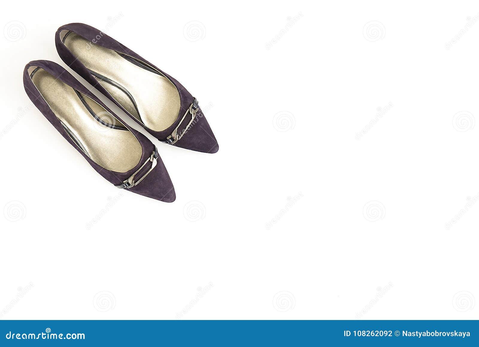 1a272420b Fashionable medium heeled women`s leather wedge shoes isolated on white.