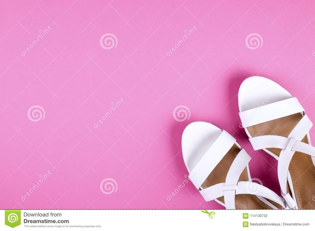 Top view of fashionable feminine medium heeled women`s leather shoes of  pastel colors on c9f9aaa5bd