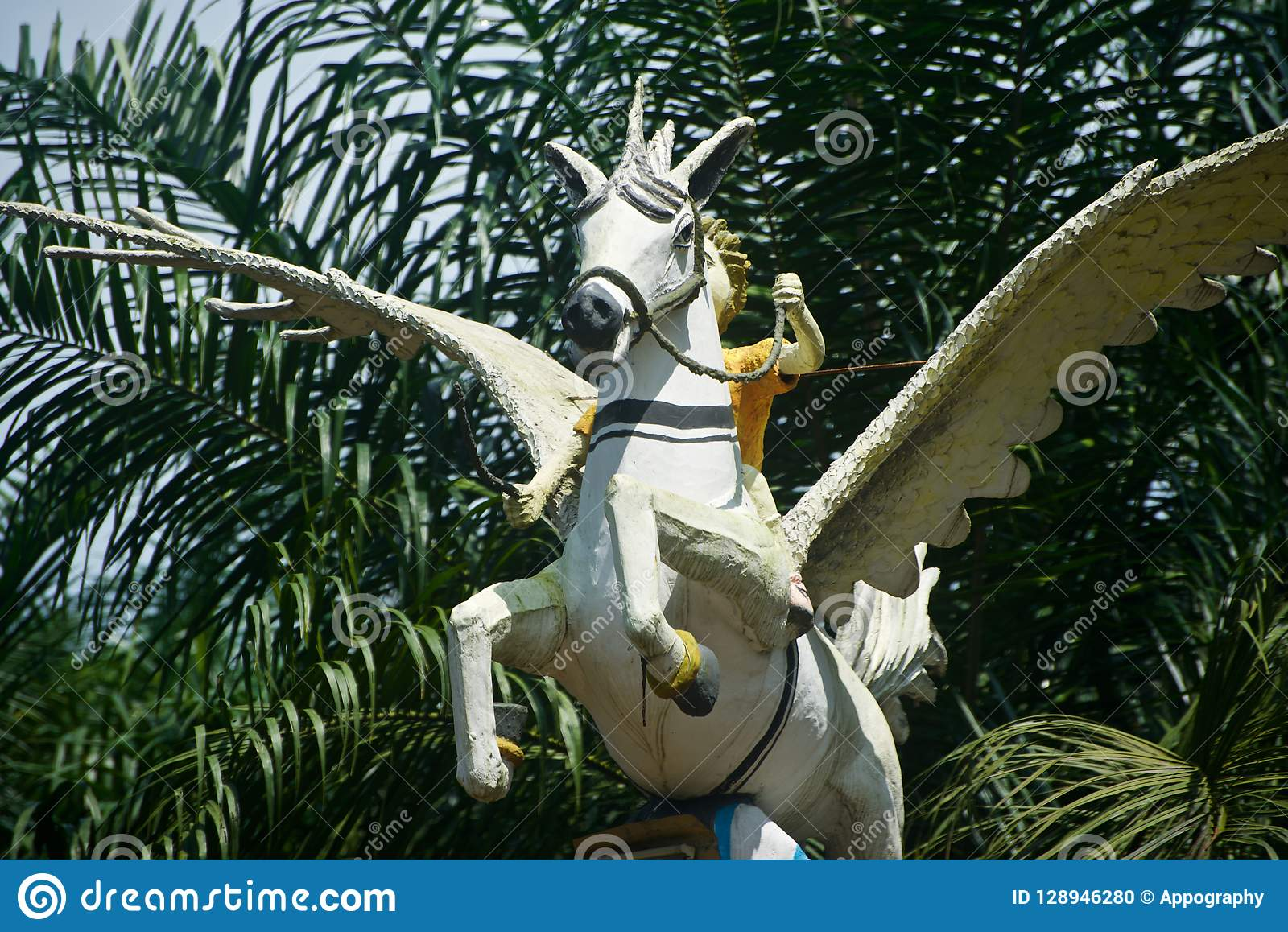 A clay made monuments of flying horse unique photo