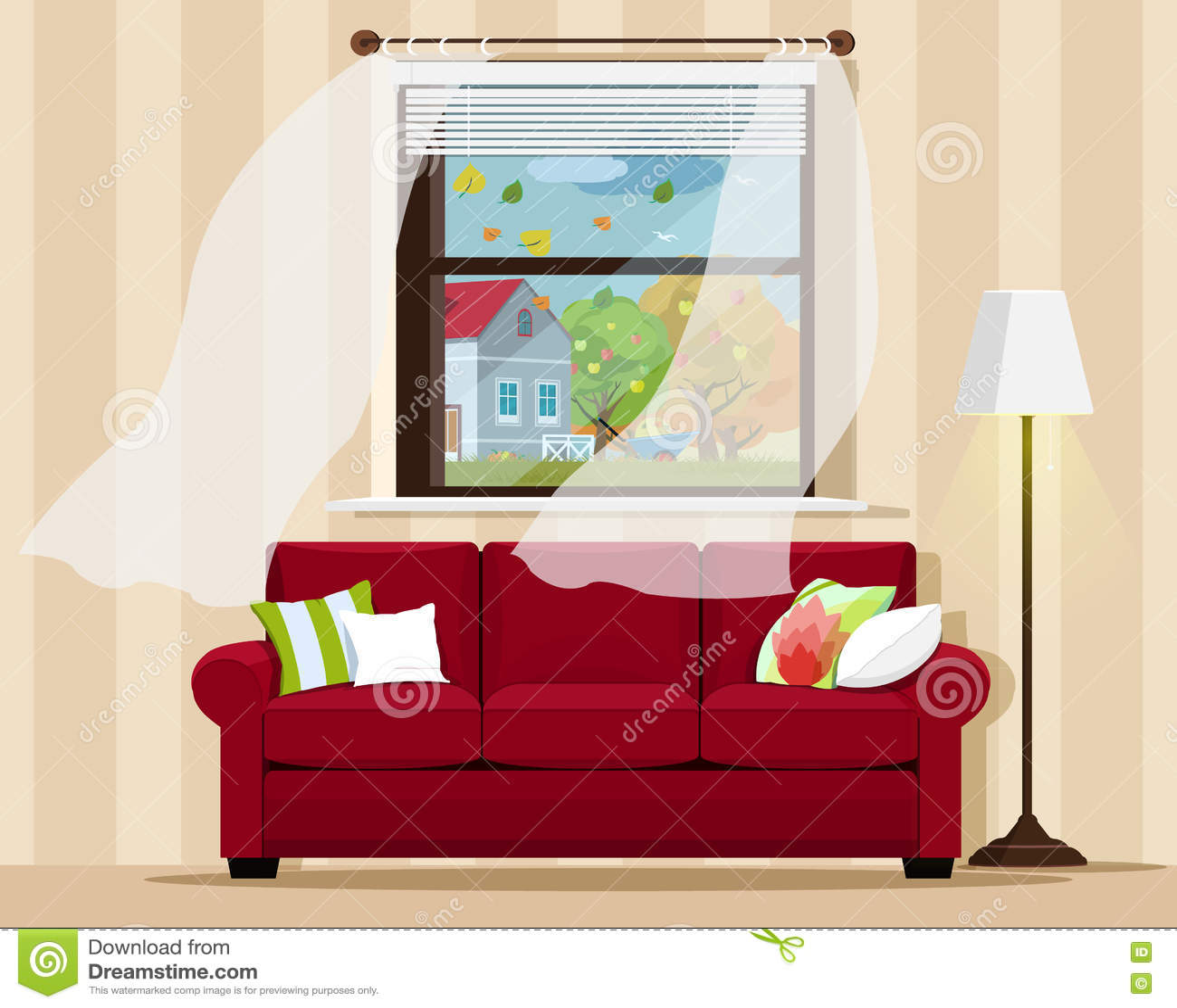 Cartoon Living Room: Soft Sofa For Living Room Icon, Cartoon Style Cartoon
