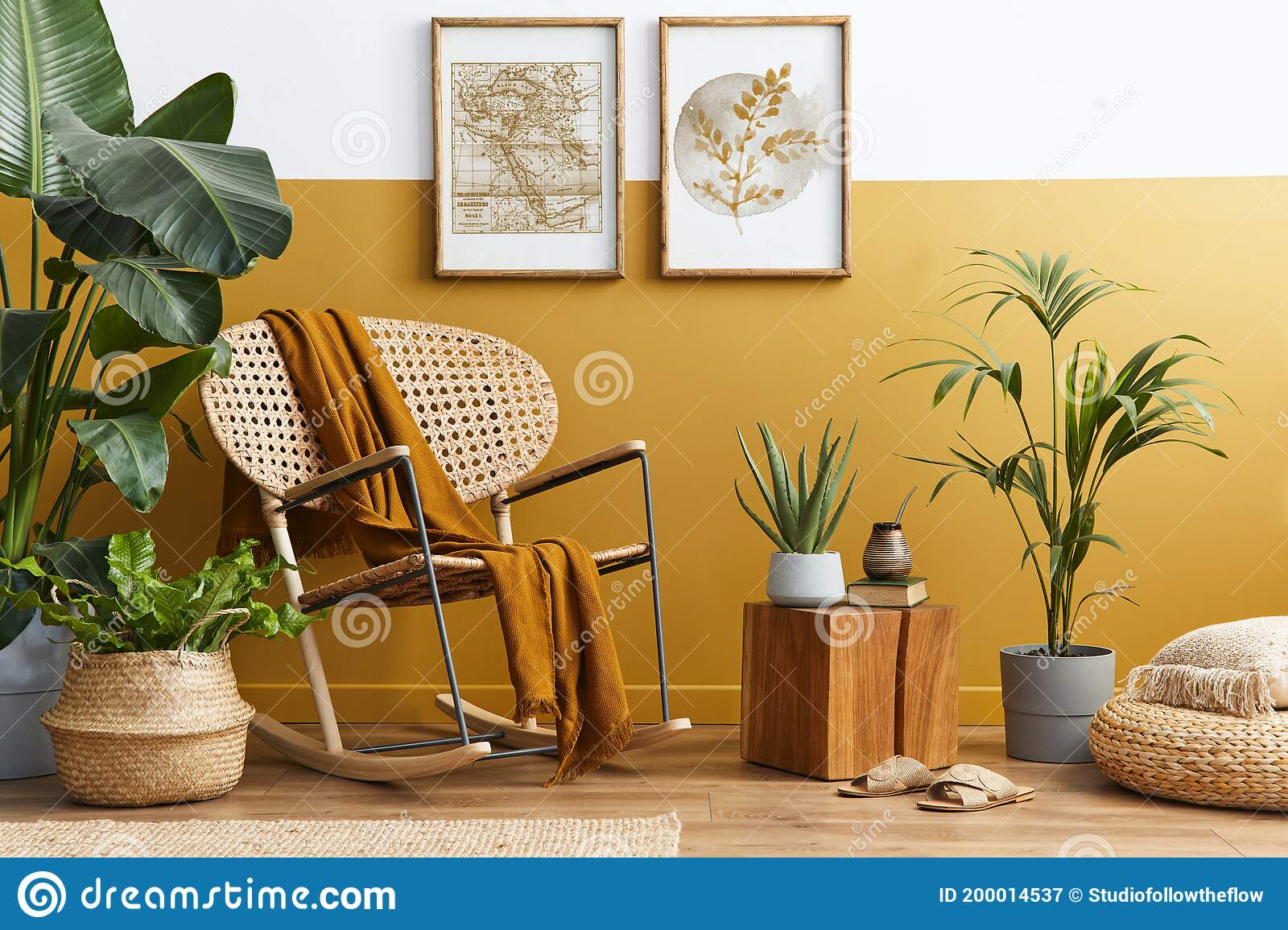 Stylish Composition Of Living Room Interior With Design Rattan Armchair Two Mock Up Poster Frames Plants Cube Stock Image Image Of Indoors Dining 200014537