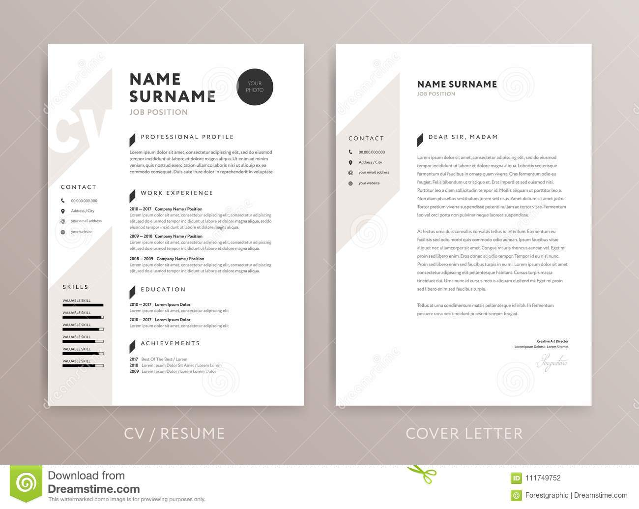 Stylish Curriculum Vitae And Cover Letter Template Stock Vector