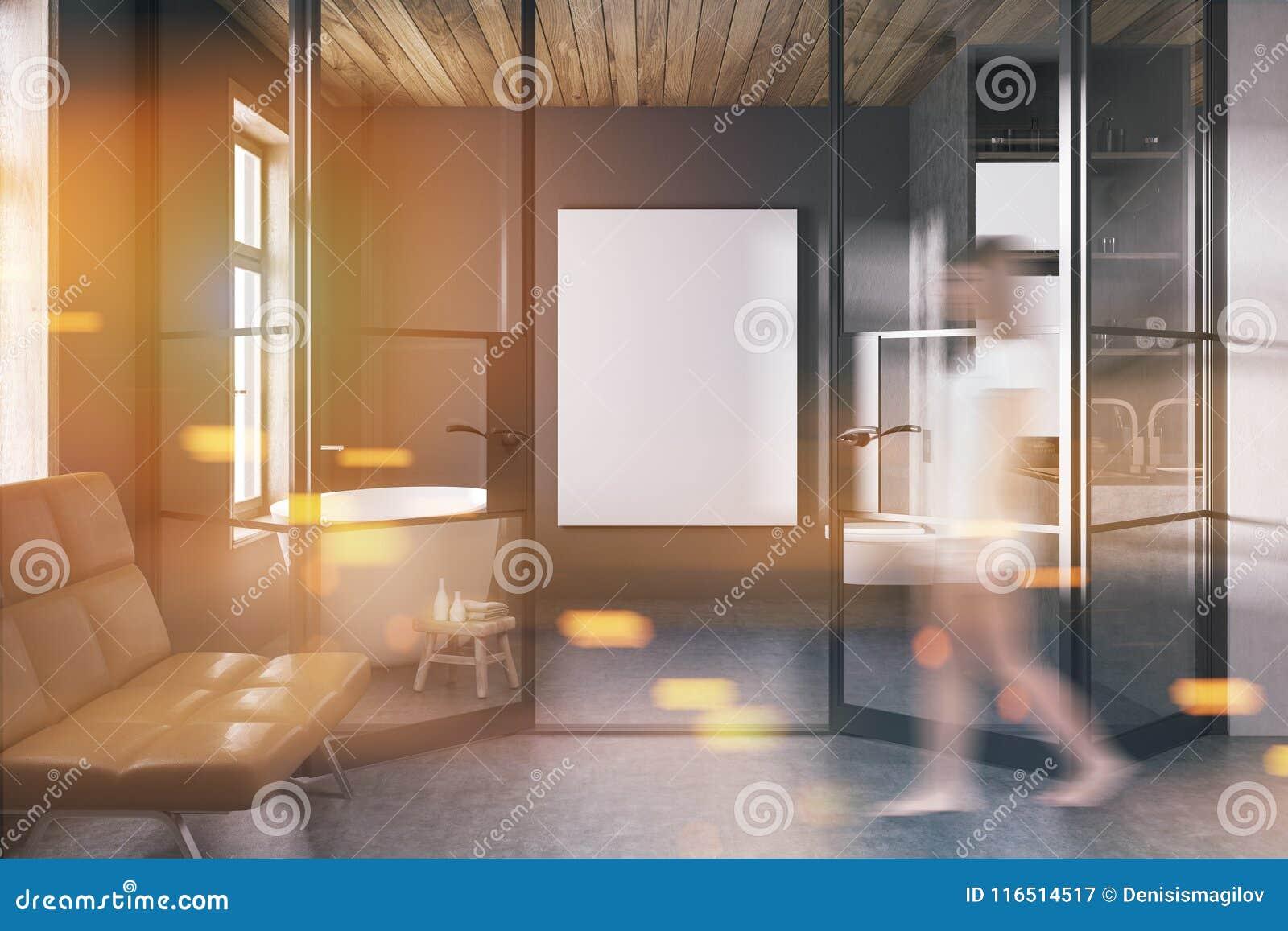 Stylish Dark Bathroom Interior, Bench Blur Stock Illustration ...
